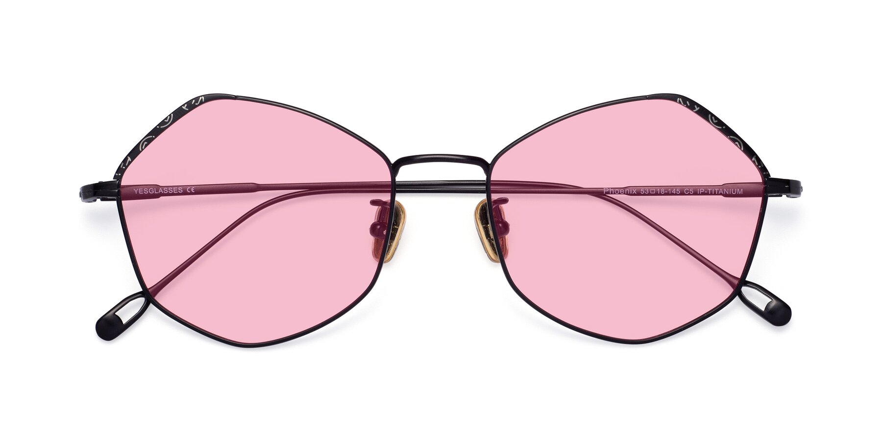 Folded Front of Phoenix in Black with Medium Pink Tinted Lenses