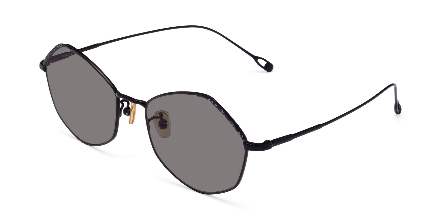 Angle of Phoenix in Black with Medium Gray Tinted Lenses