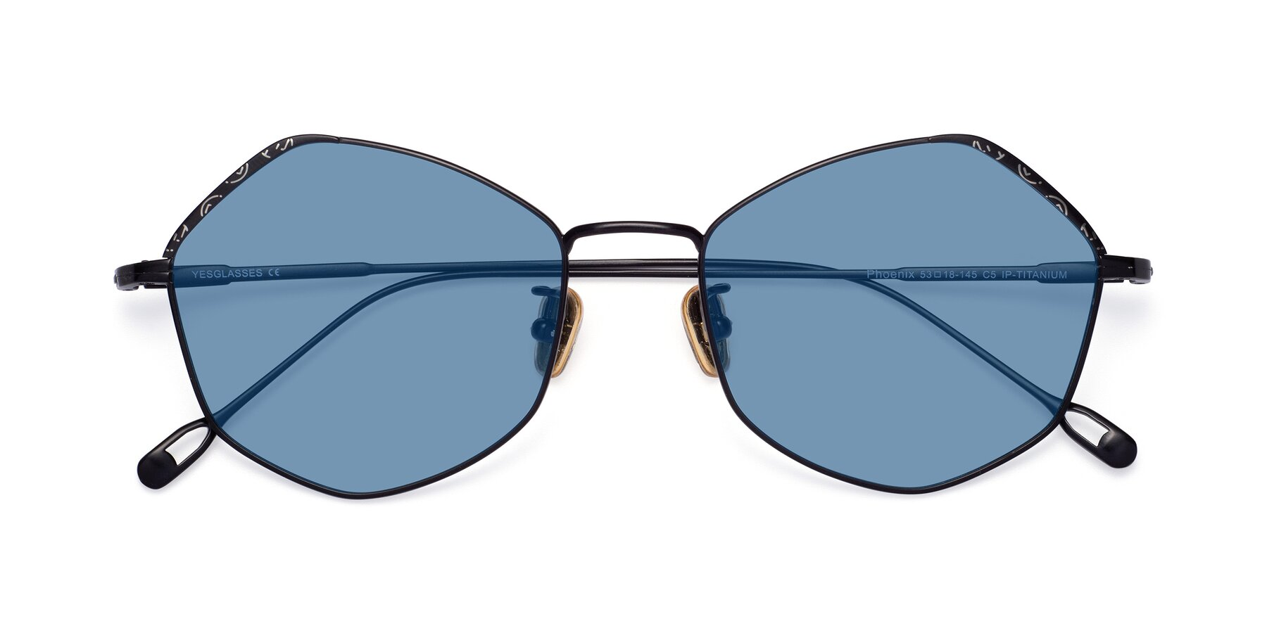 Folded Front of Phoenix in Black with Medium Blue Tinted Lenses