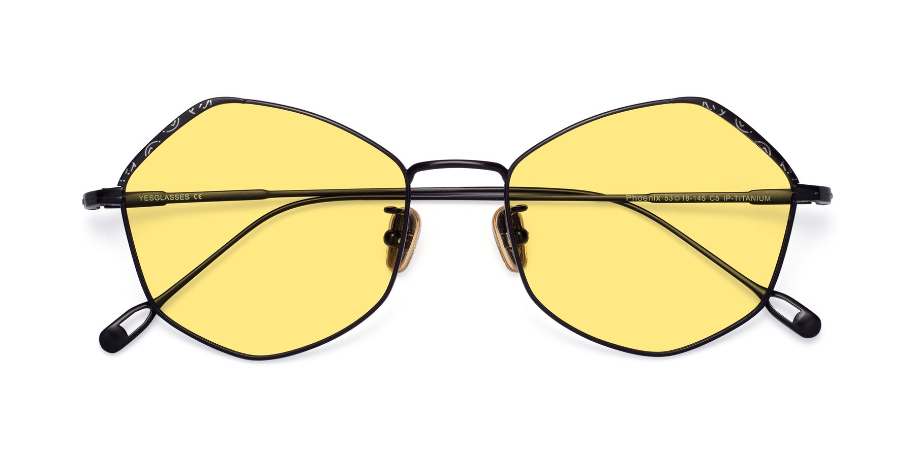 Folded Front of Phoenix in Black with Medium Yellow Tinted Lenses