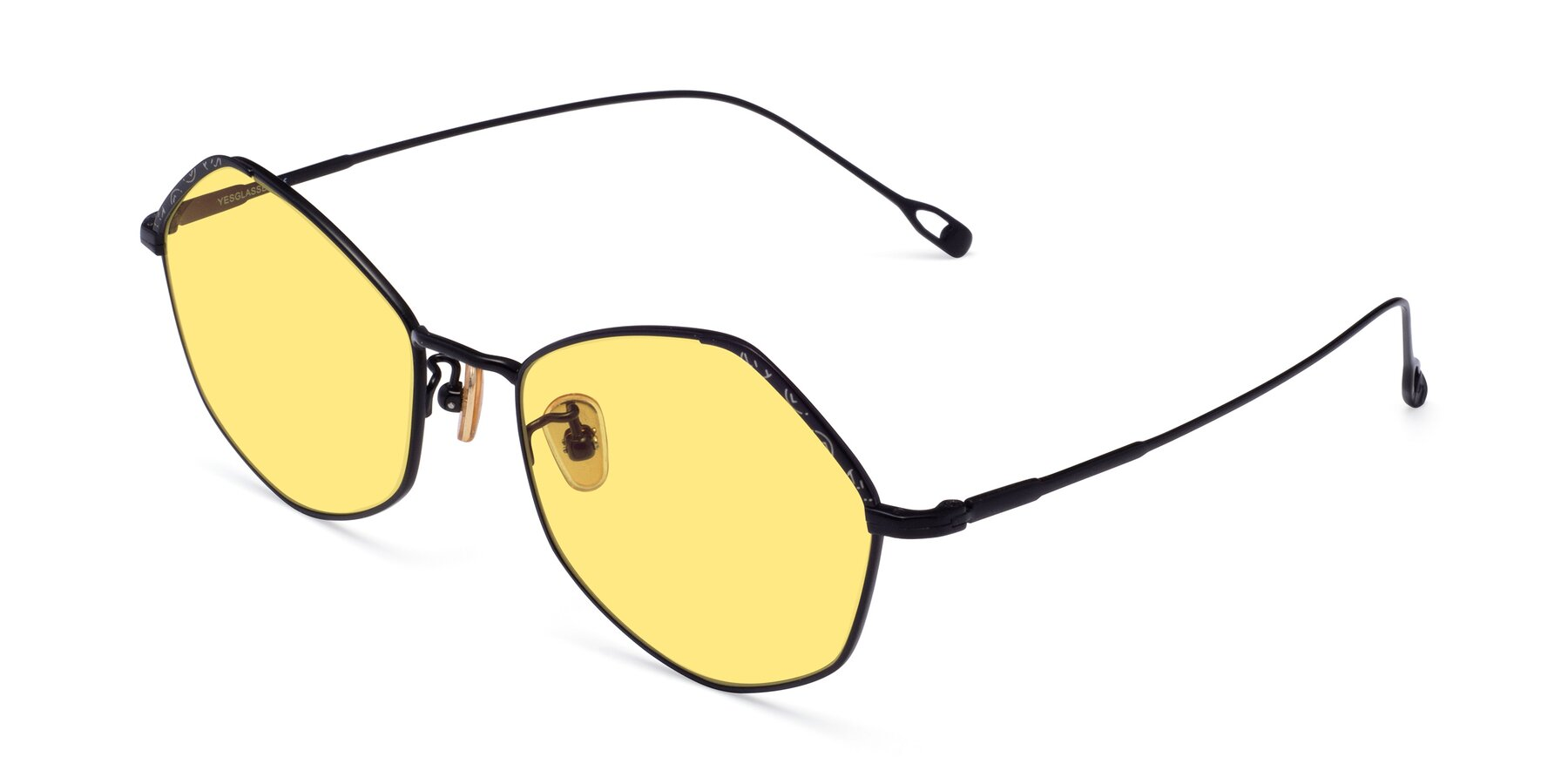 Angle of Phoenix in Black with Medium Yellow Tinted Lenses