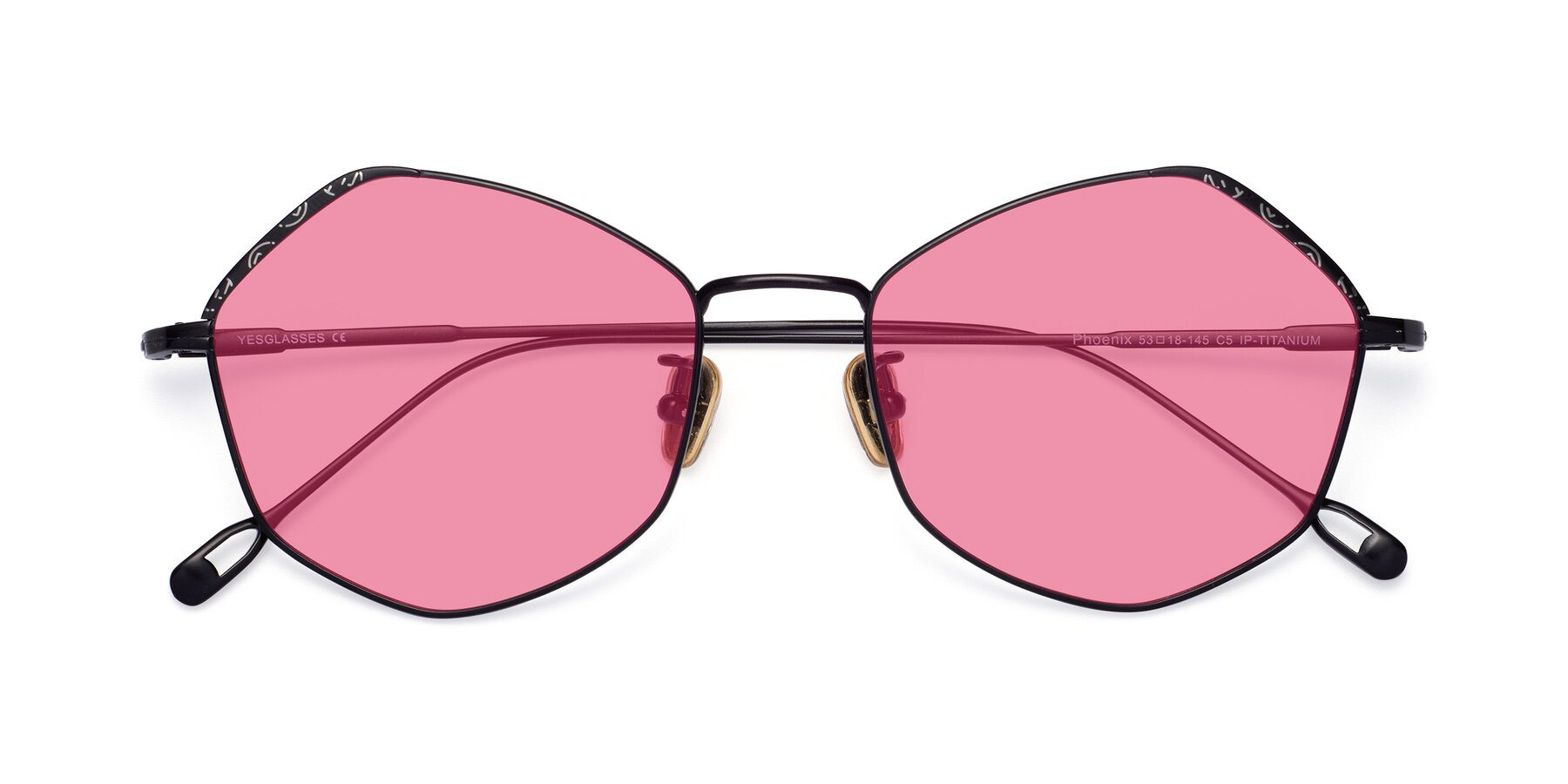Folded Front of Phoenix in Black with Pink Tinted Lenses