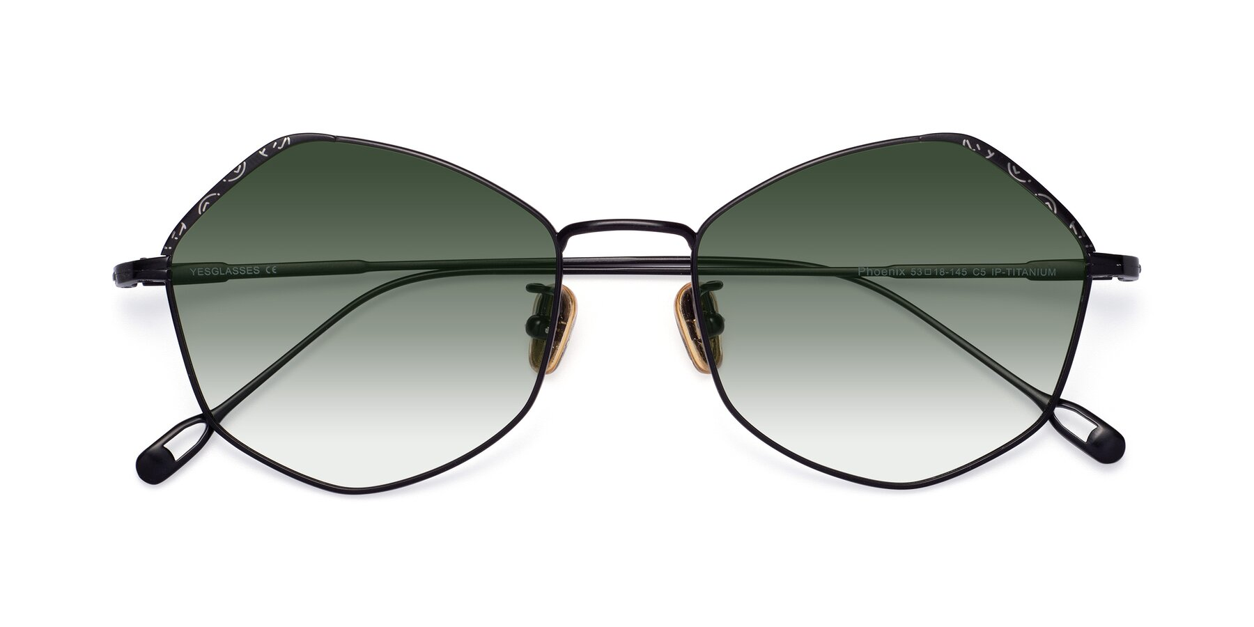 Folded Front of Phoenix in Black with Green Gradient Lenses