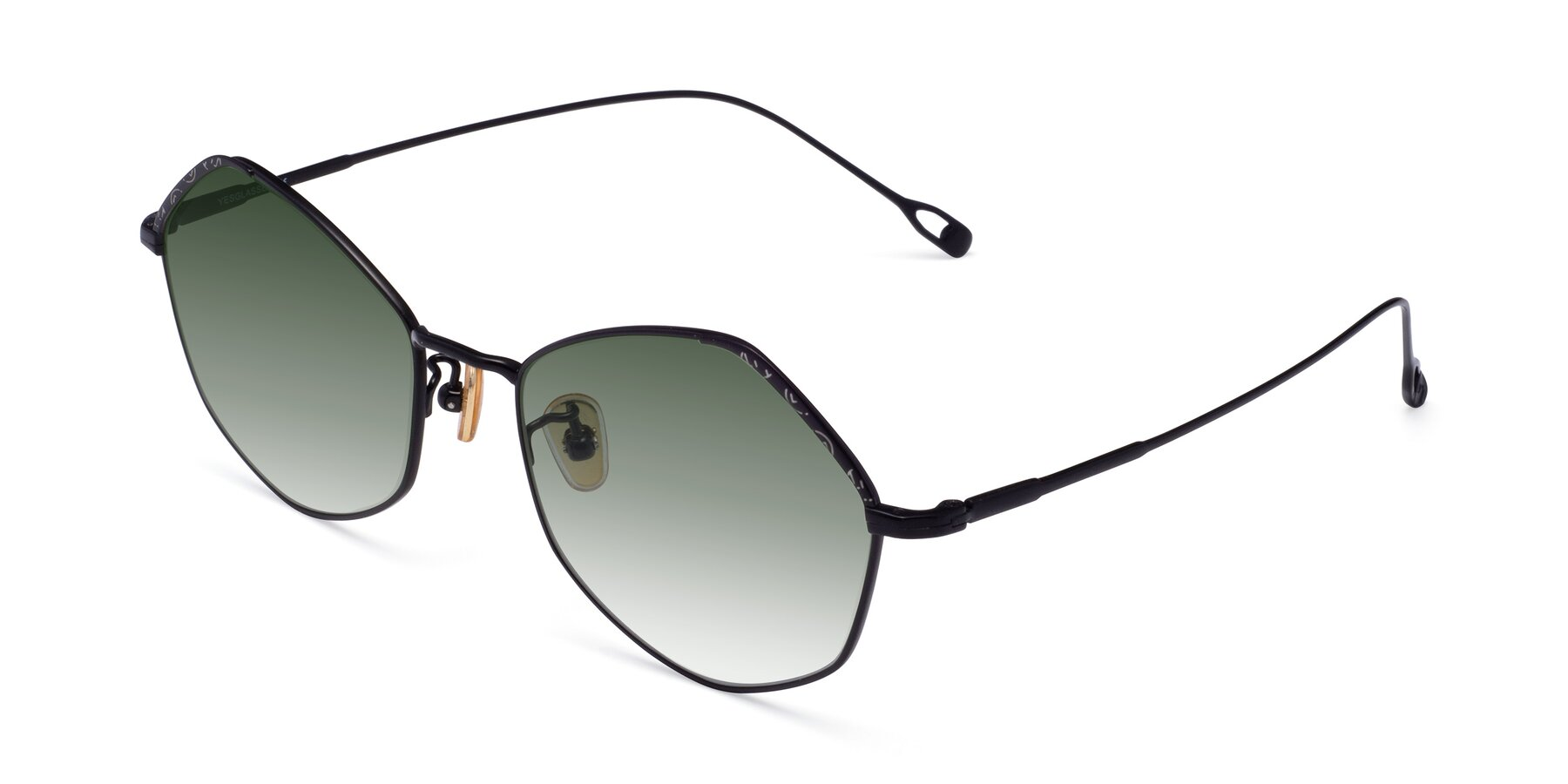 Angle of Phoenix in Black with Green Gradient Lenses