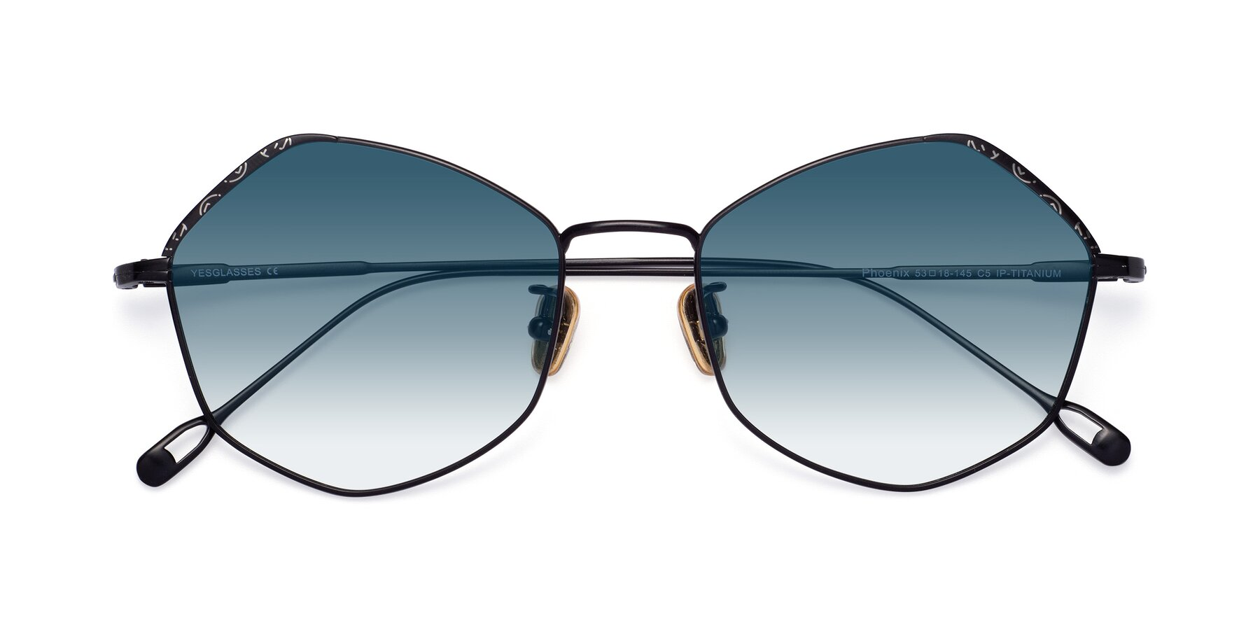 Folded Front of Phoenix in Black with Blue Gradient Lenses