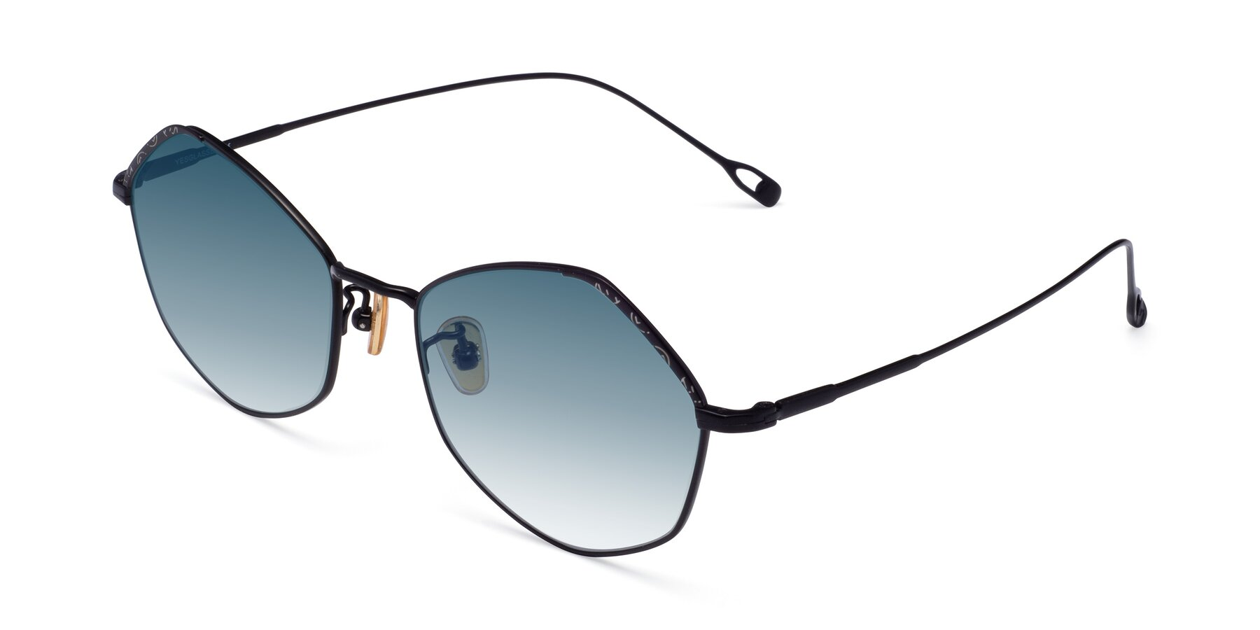 Angle of Phoenix in Black with Blue Gradient Lenses