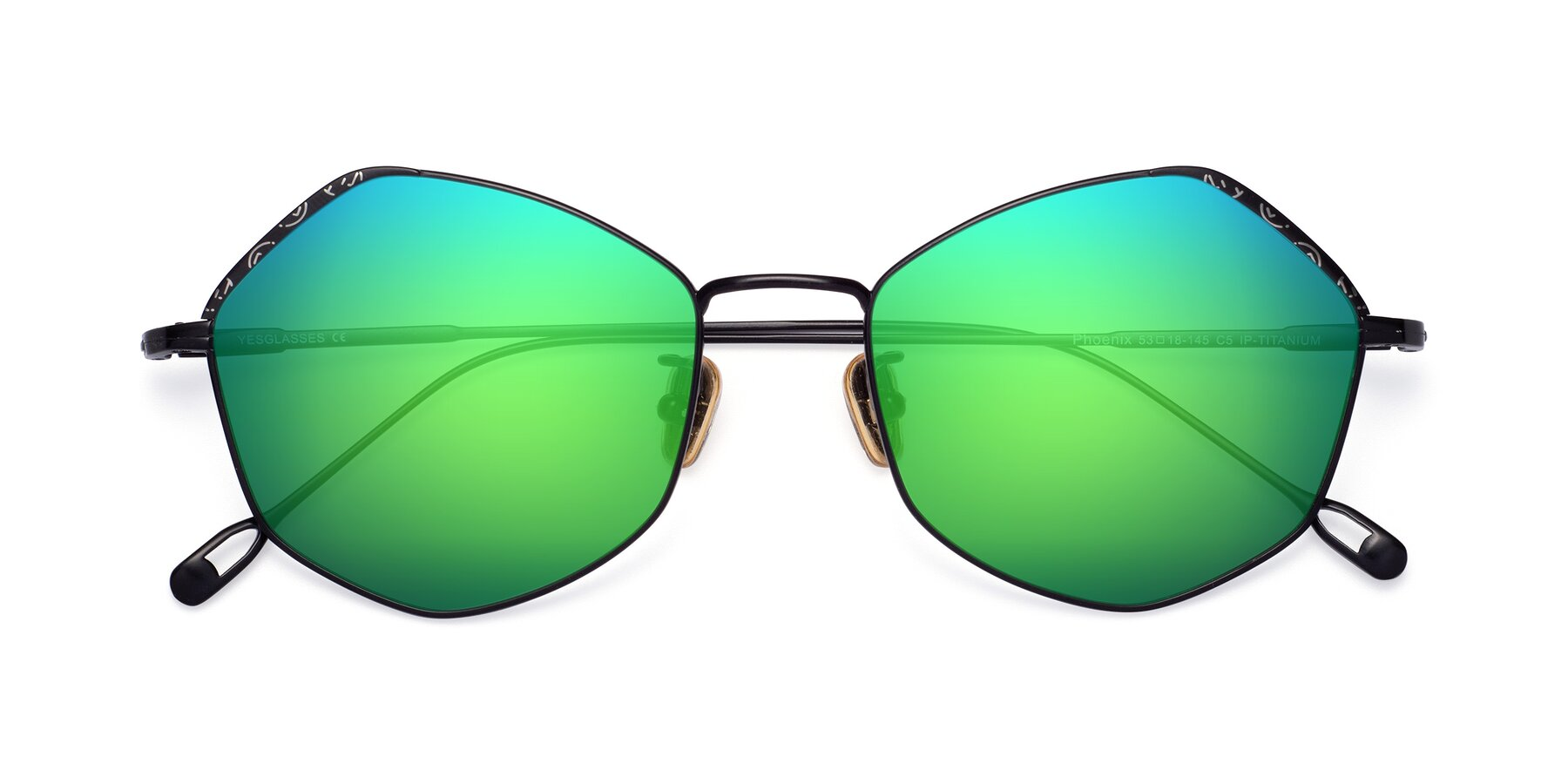 Folded Front of Phoenix in Black with Green Mirrored Lenses