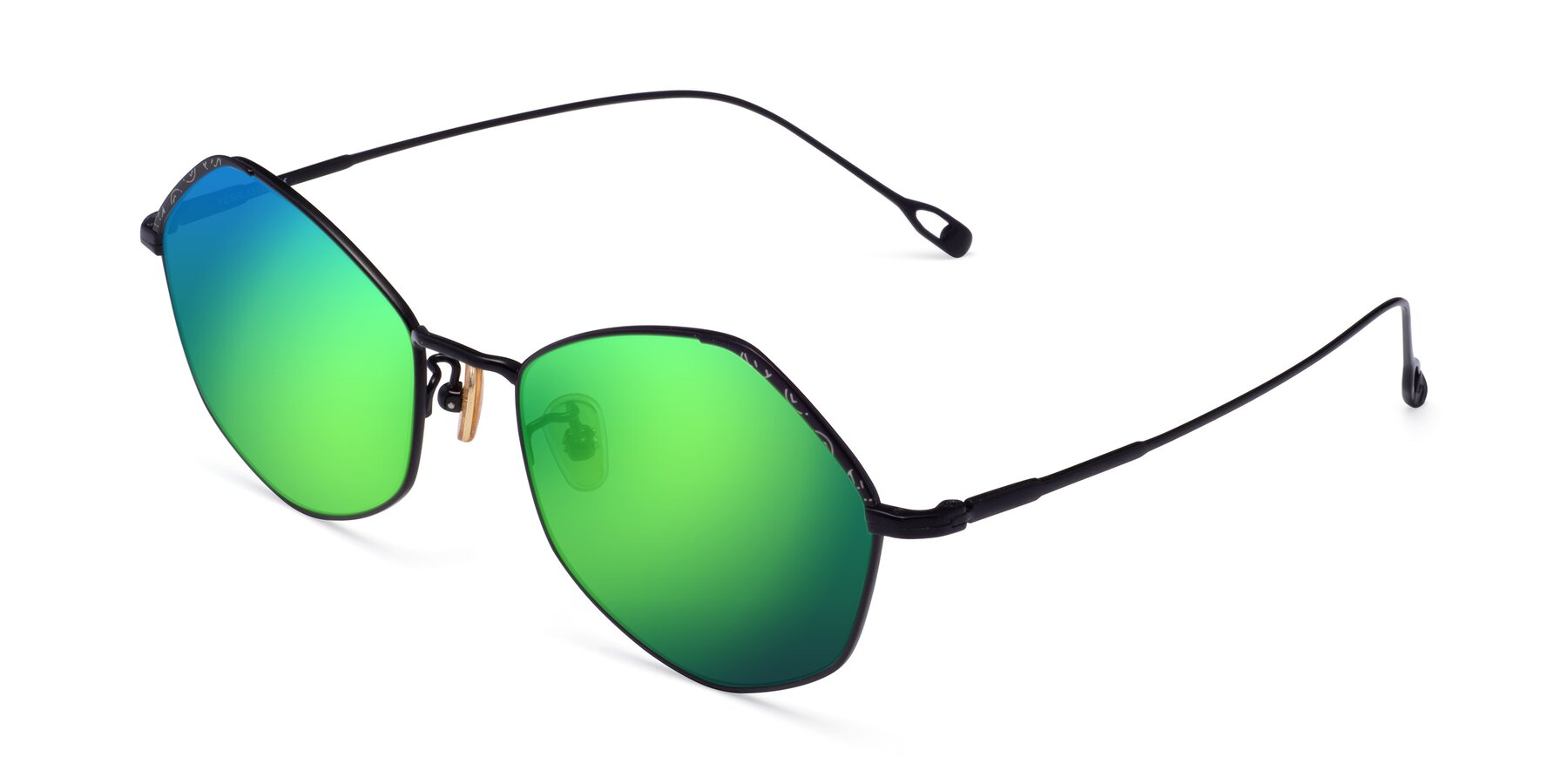 Angle of Phoenix in Black with Green Mirrored Lenses