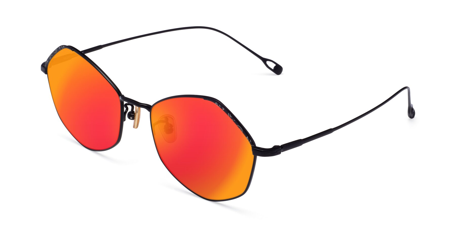 Angle of Phoenix in Black with Red Gold Mirrored Lenses