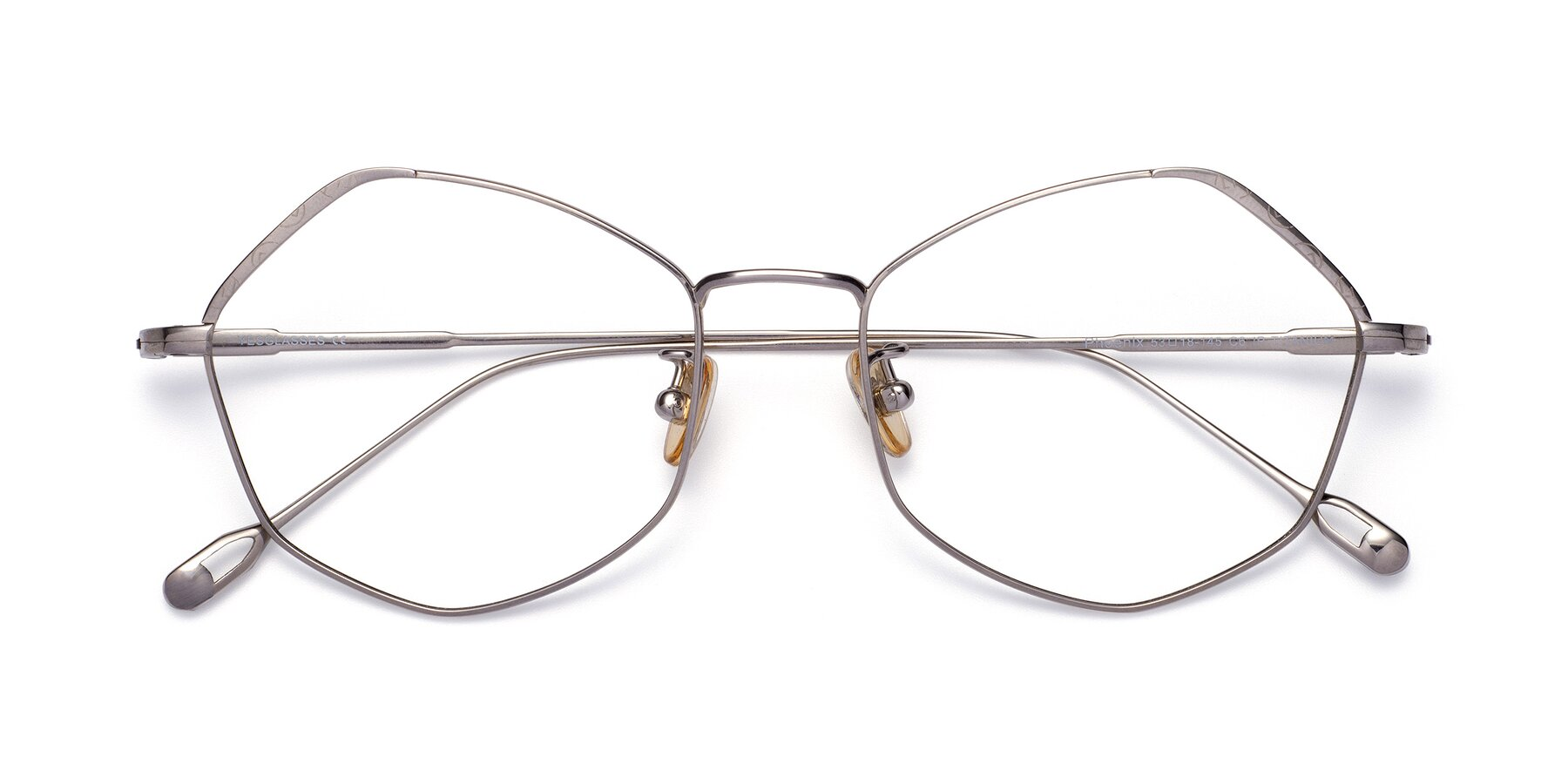 Folded Front of Phoenix in Silver with Clear Eyeglass Lenses
