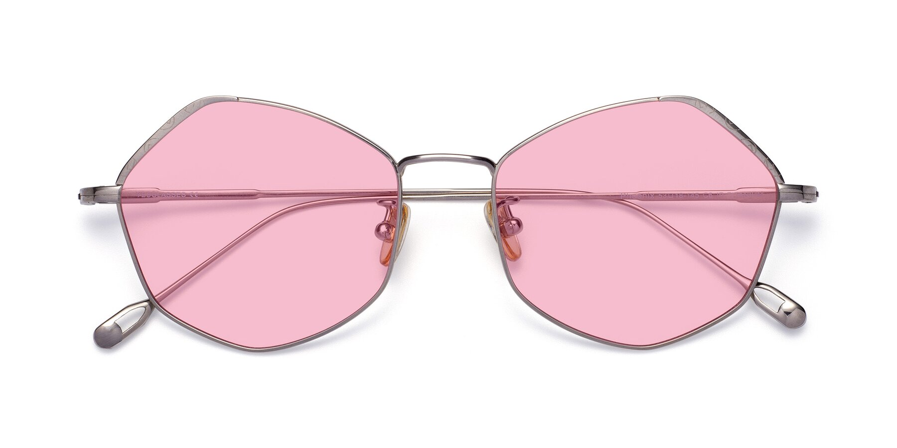 Folded Front of Phoenix in Silver with Medium Pink Tinted Lenses