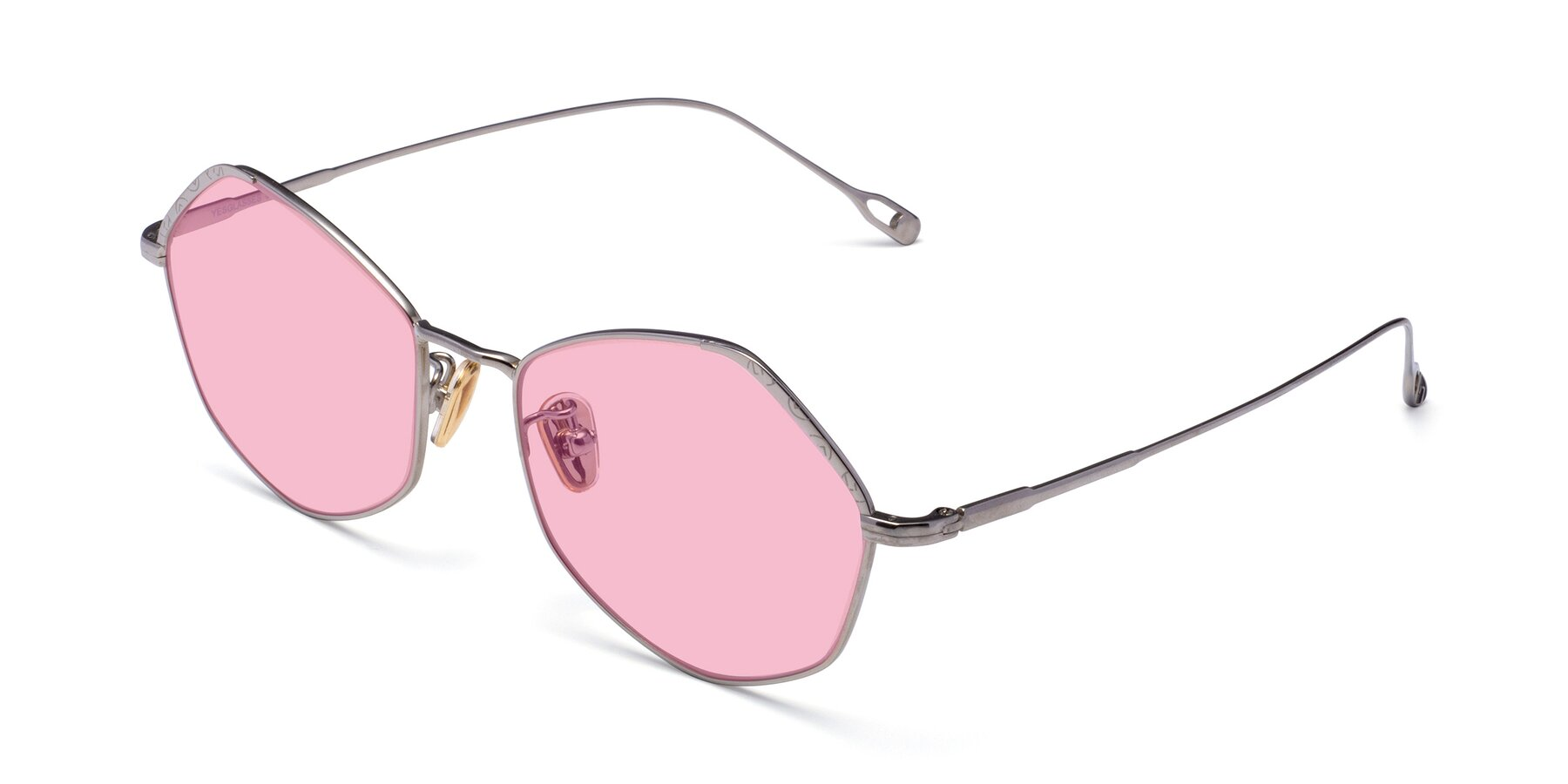 Angle of Phoenix in Silver with Medium Pink Tinted Lenses