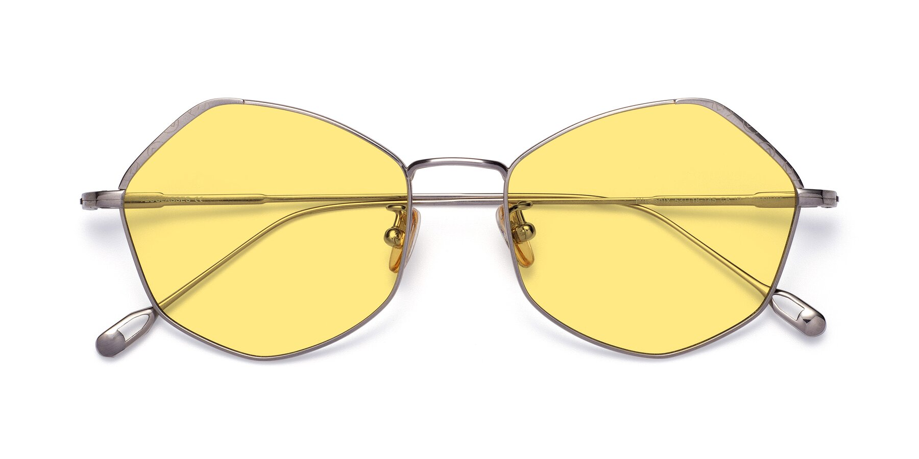 Folded Front of Phoenix in Silver with Medium Yellow Tinted Lenses