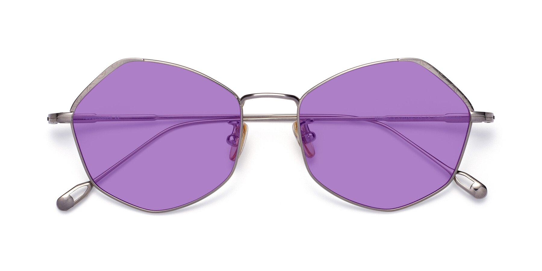 Folded Front of Phoenix in Silver with Medium Purple Tinted Lenses