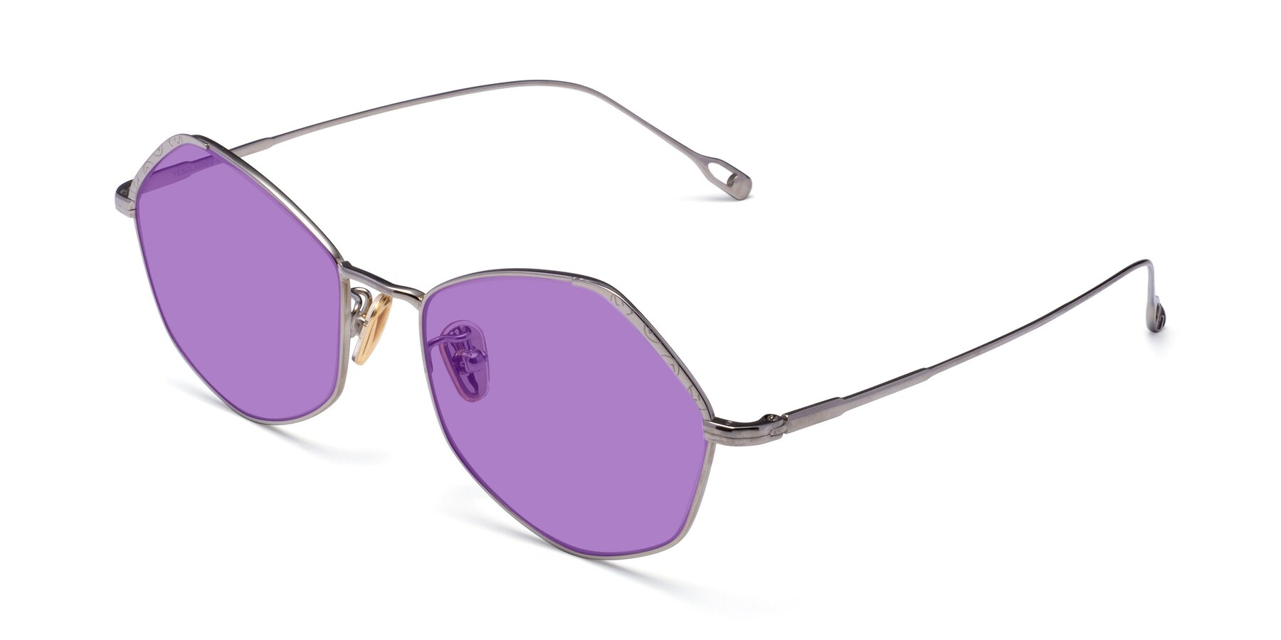 Angle of Phoenix in Silver with Medium Purple Tinted Lenses