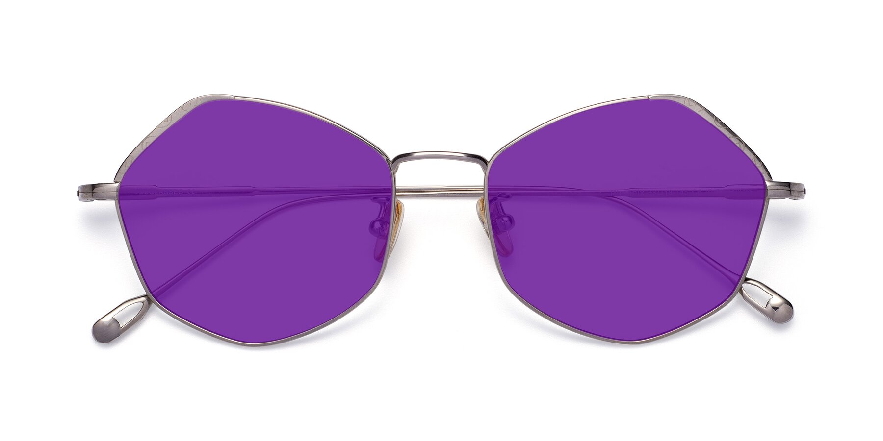 Folded Front of Phoenix in Silver with Purple Tinted Lenses