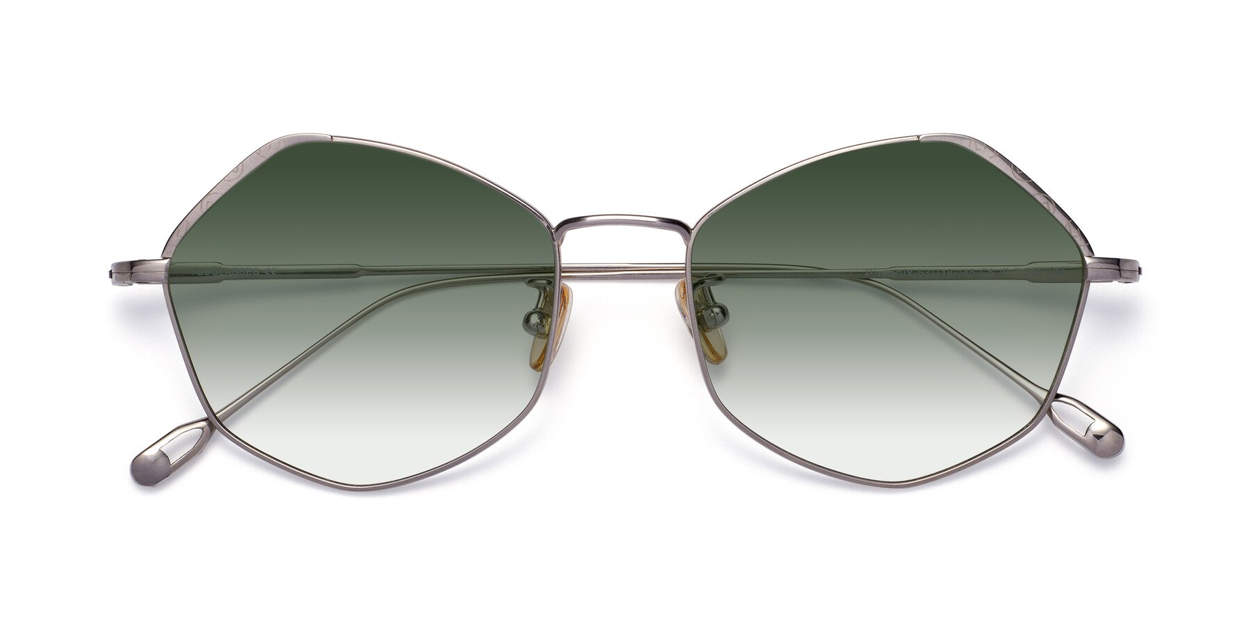 Folded Front of Phoenix in Silver with Green Gradient Lenses