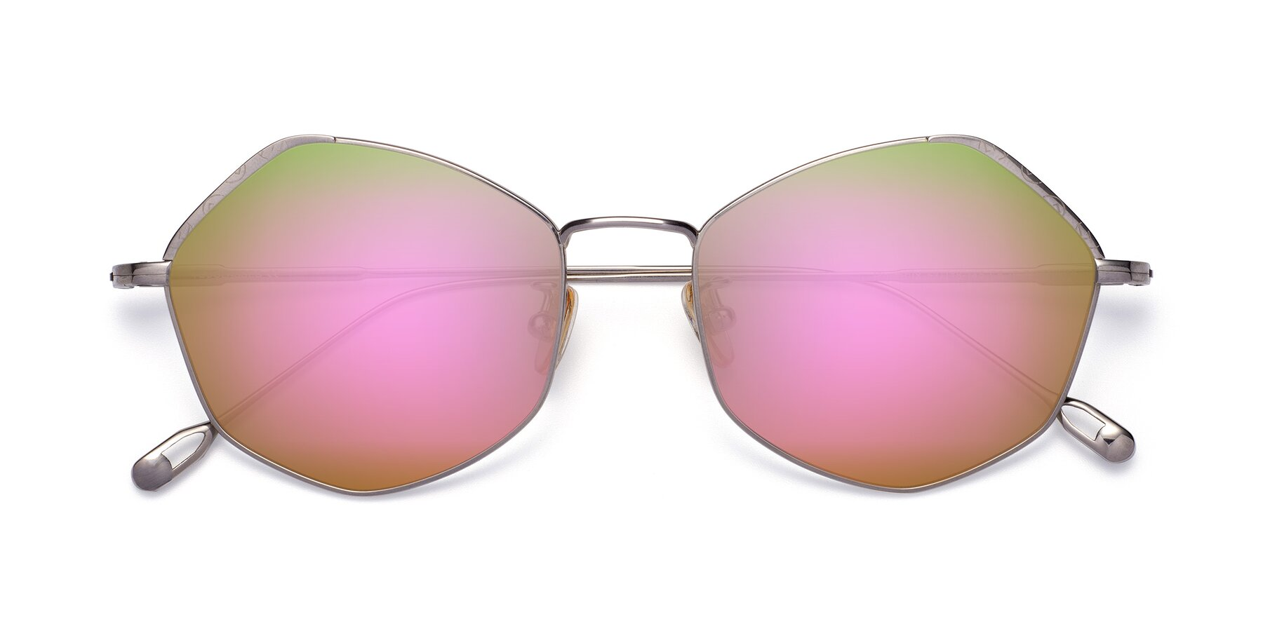 Folded Front of Phoenix in Silver with Pink Mirrored Lenses