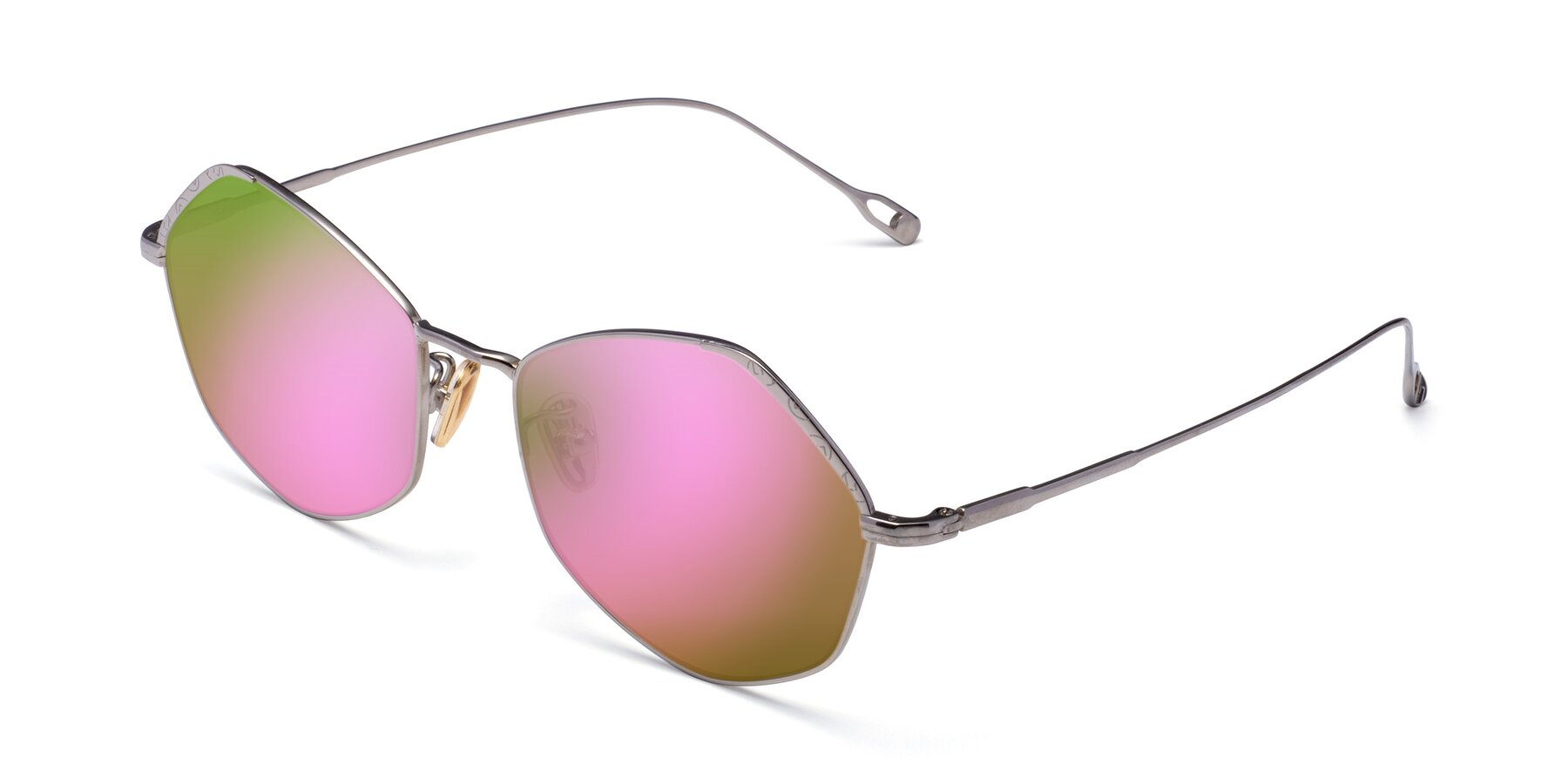 Angle of Phoenix in Silver with Pink Mirrored Lenses