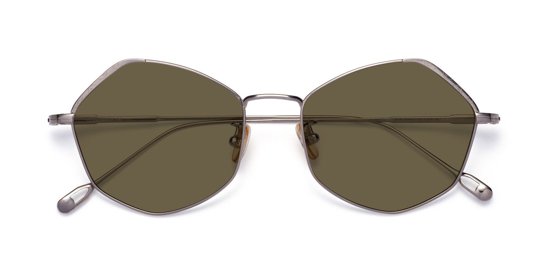 Folded Front of Phoenix in Silver with Brown Polarized Lenses