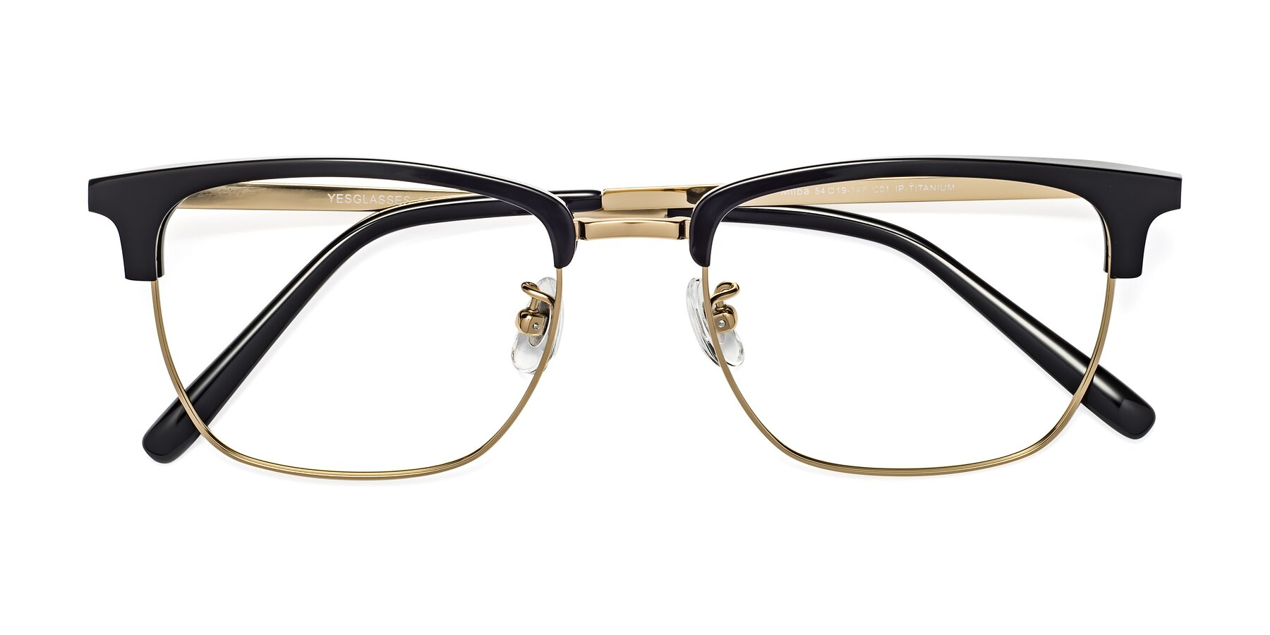 Folded Front of Milpa in Black-Gold with Clear Eyeglass Lenses