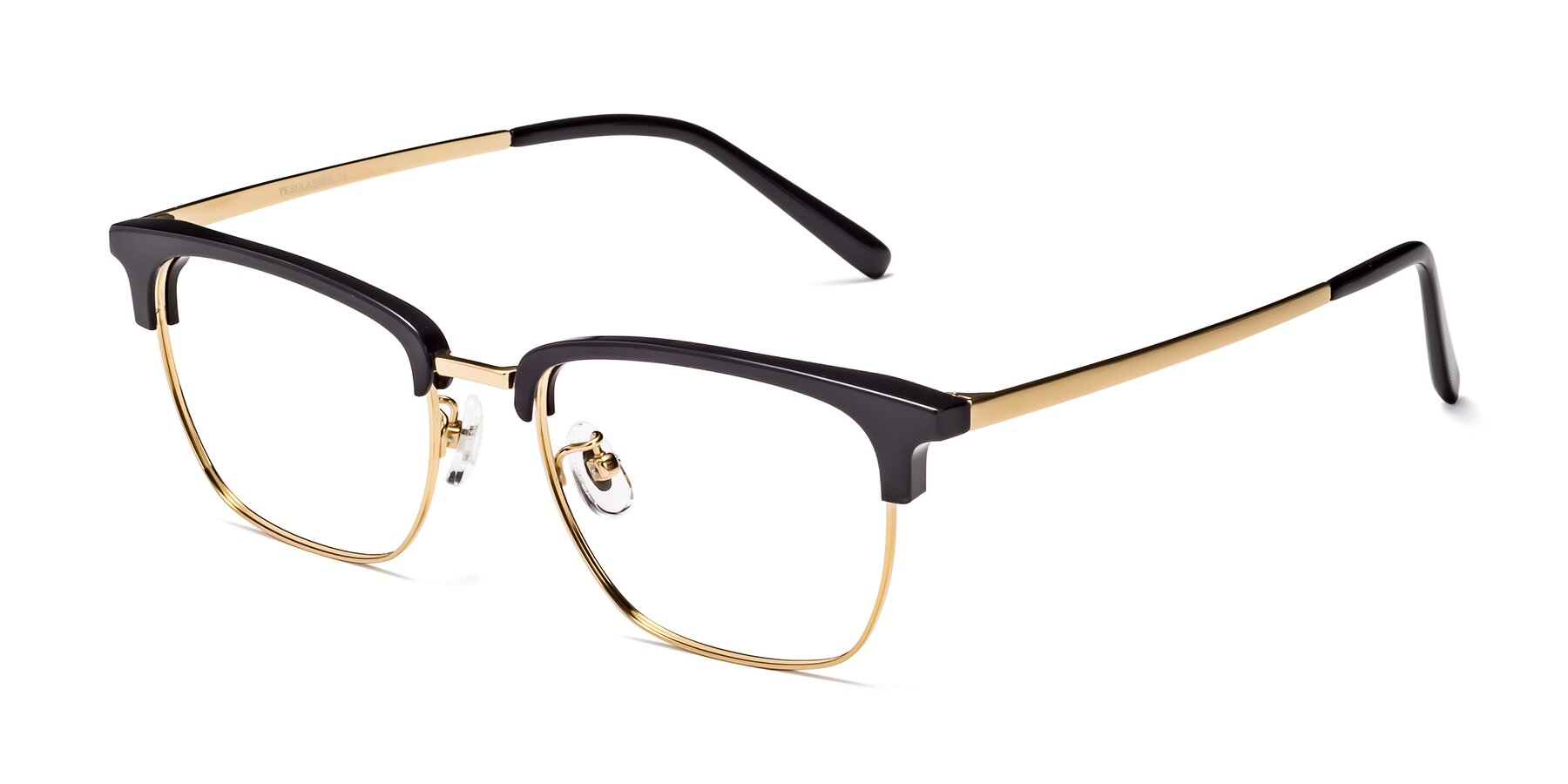 Angle of Milpa in Black-Gold with Clear Eyeglass Lenses