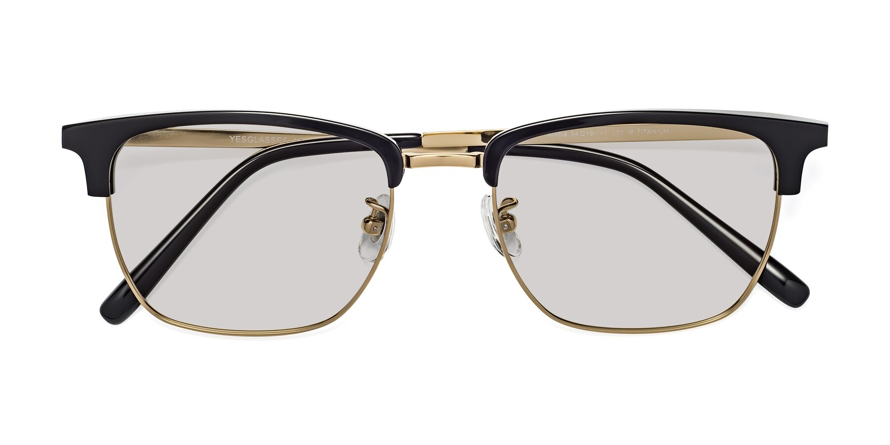 Folded Front of Milpa in Black-Gold with Light Gray Tinted Lenses