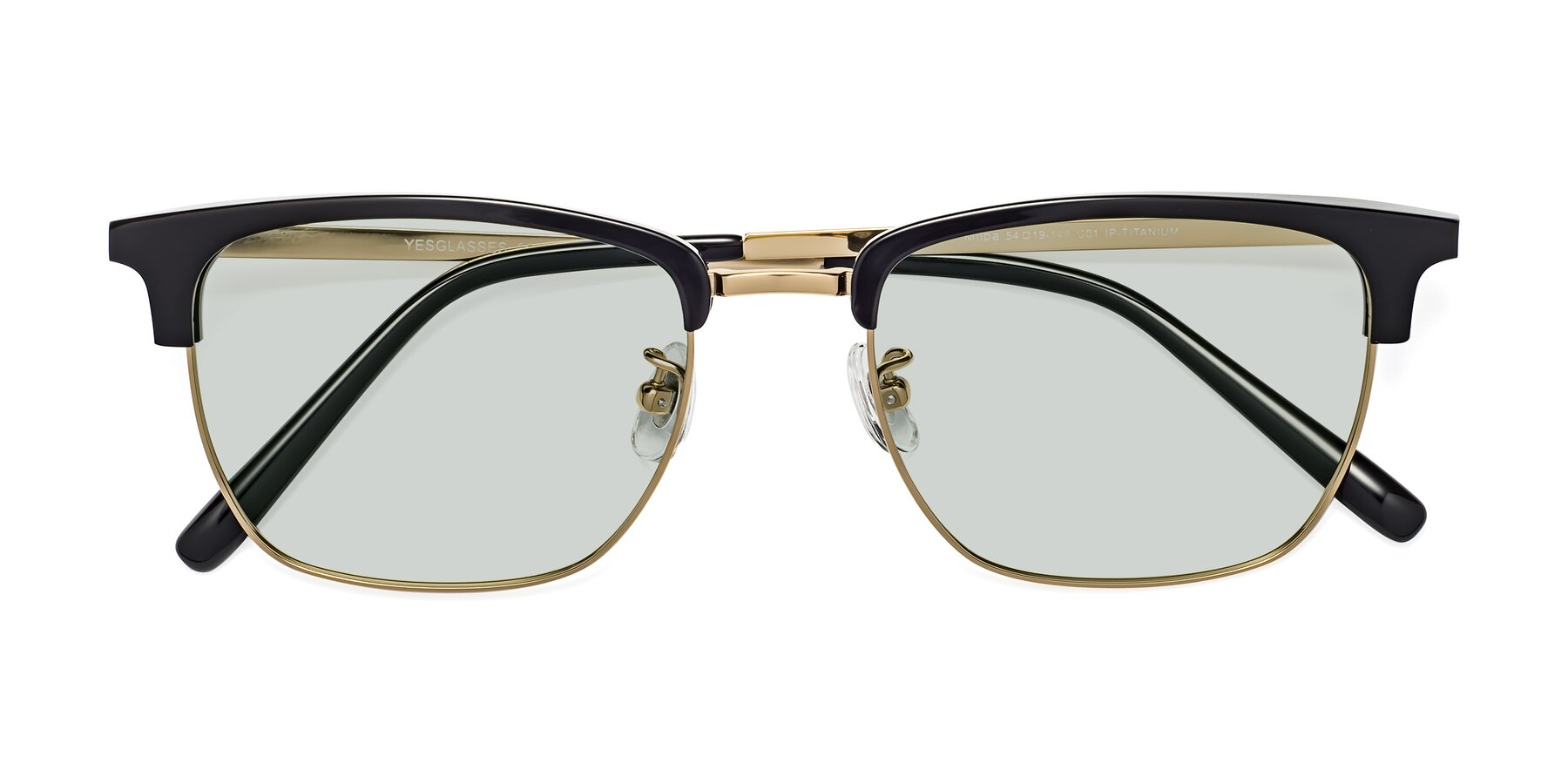 Folded Front of Milpa in Black-Gold with Light Green Tinted Lenses