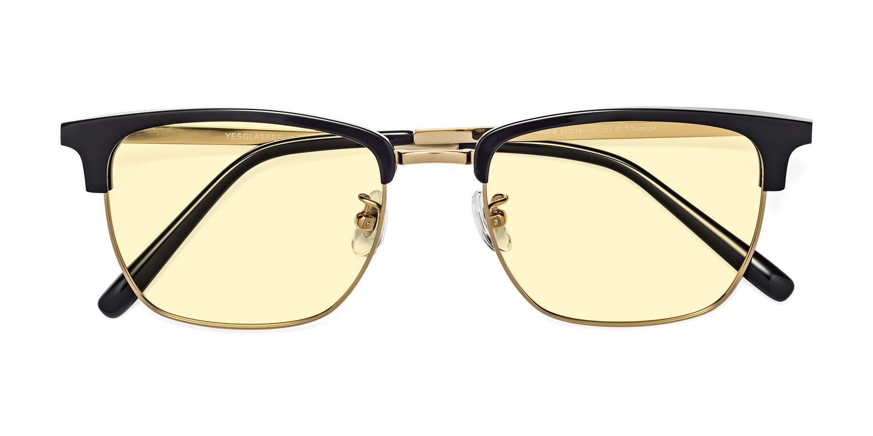 Folded Front of Milpa in Black-Gold with Light Yellow Tinted Lenses