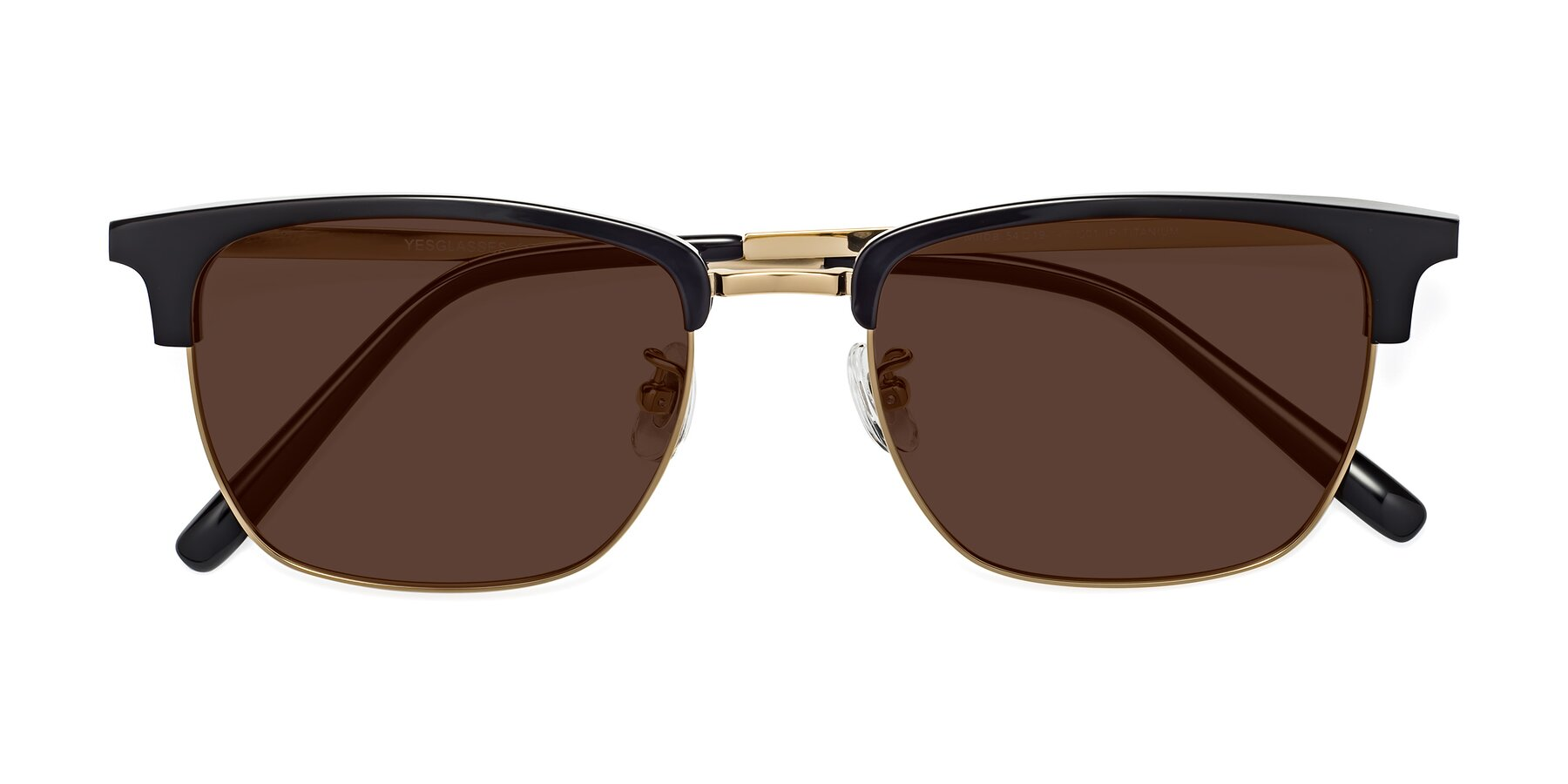 Folded Front of Milpa in Black-Gold with Brown Tinted Lenses