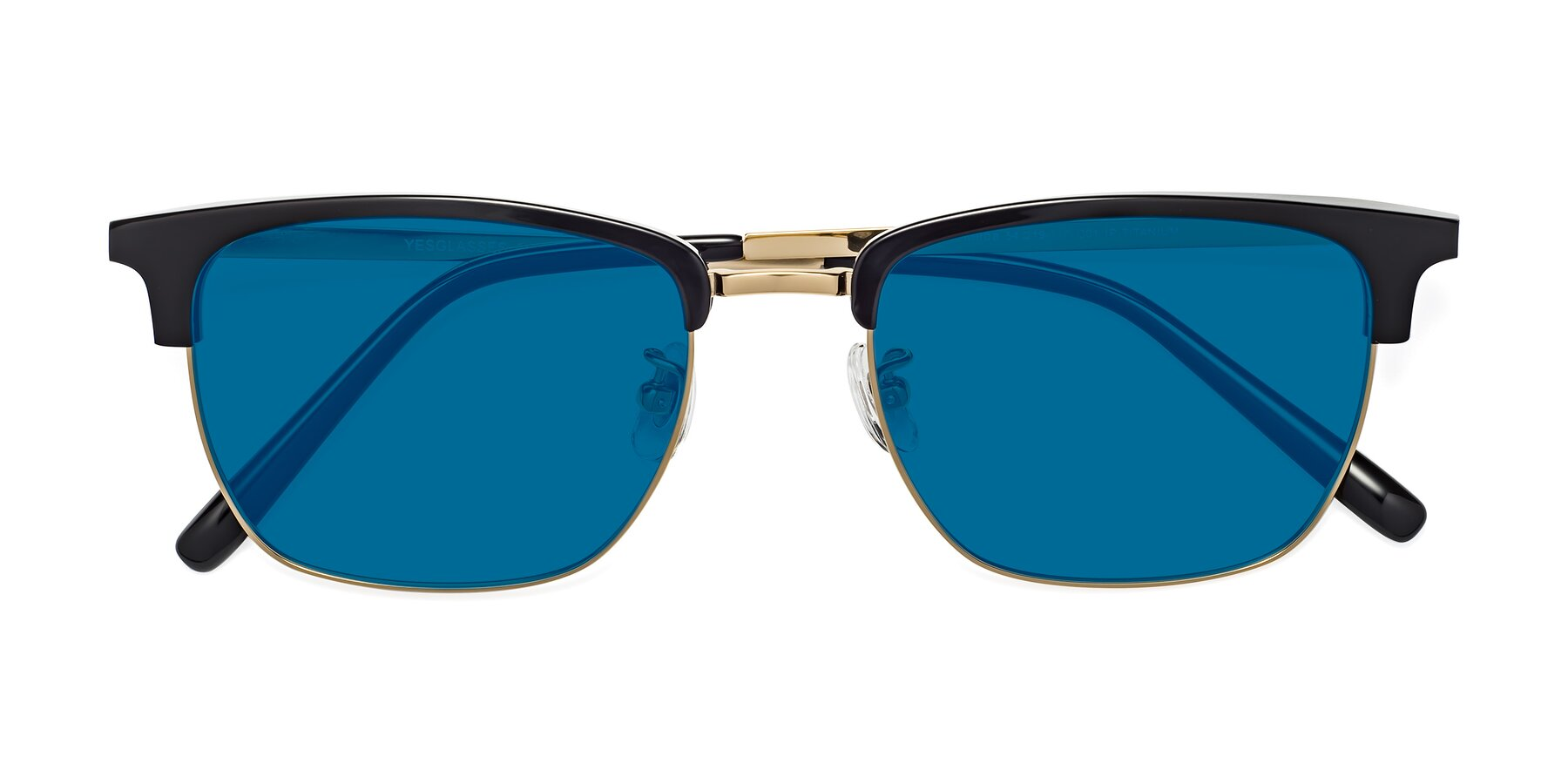 Folded Front of Milpa in Black-Gold with Blue Tinted Lenses