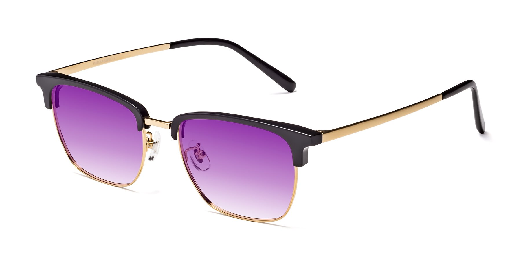 Angle of Milpa in Black-Gold with Purple Gradient Lenses