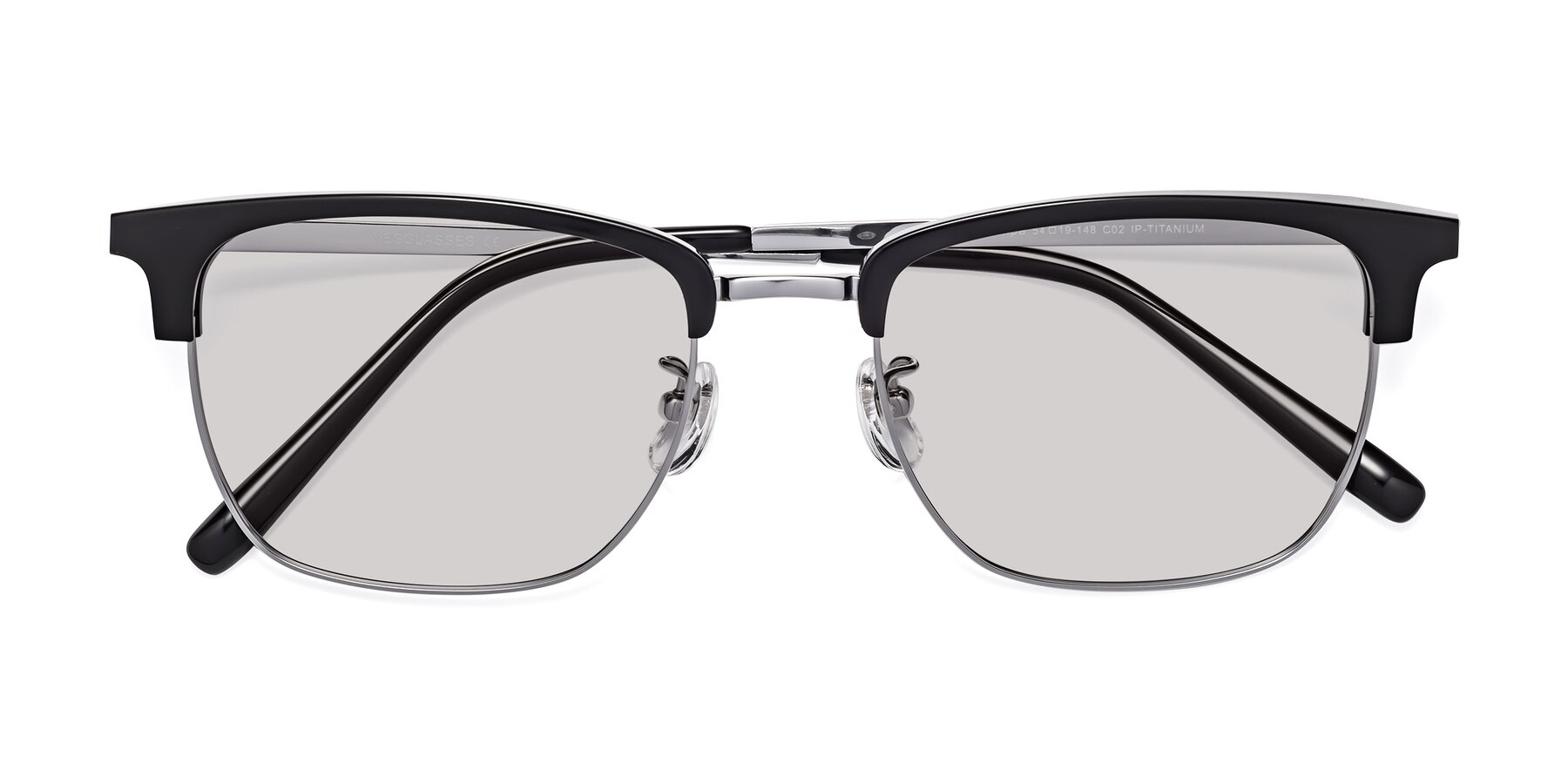 Folded Front of Milpa in Black-Silver with Light Gray Tinted Lenses