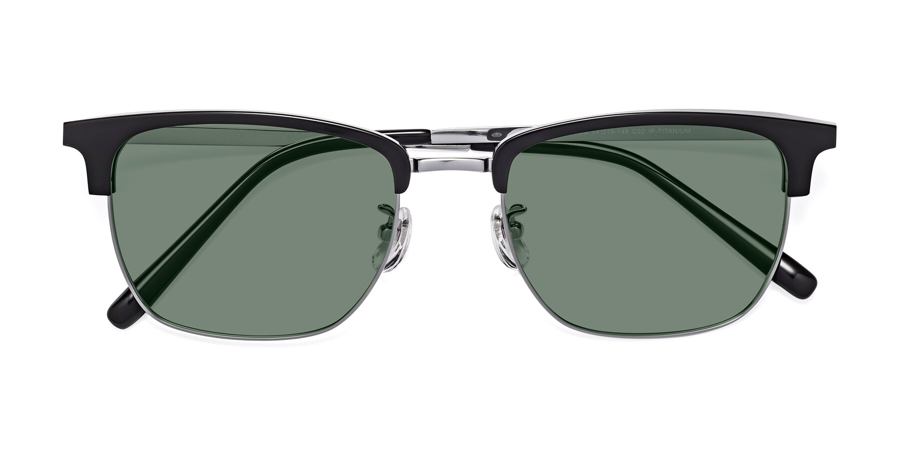 Folded Front of Milpa in Black-Silver with Medium Green Tinted Lenses