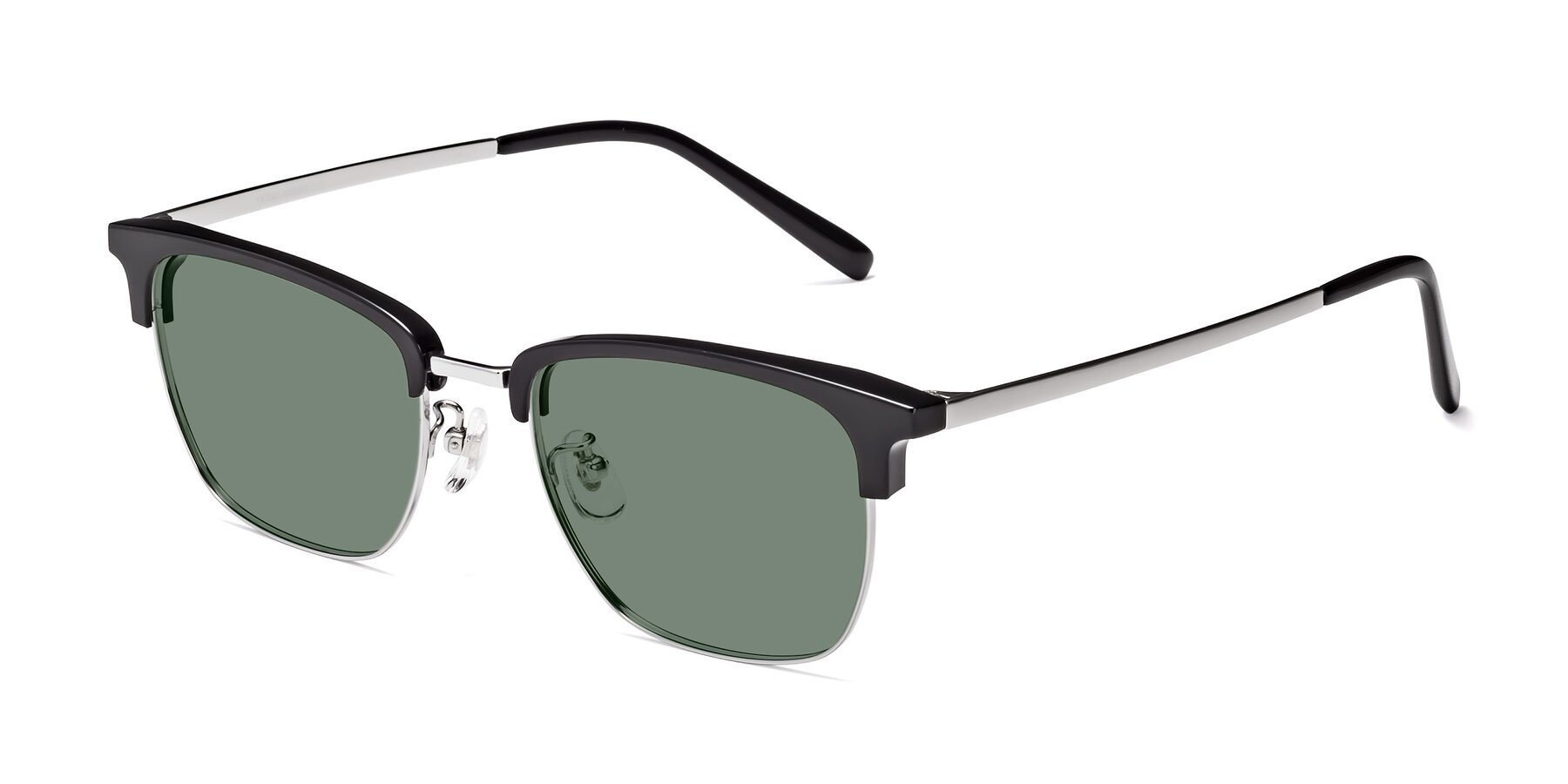 Angle of Milpa in Black-Silver with Medium Green Tinted Lenses