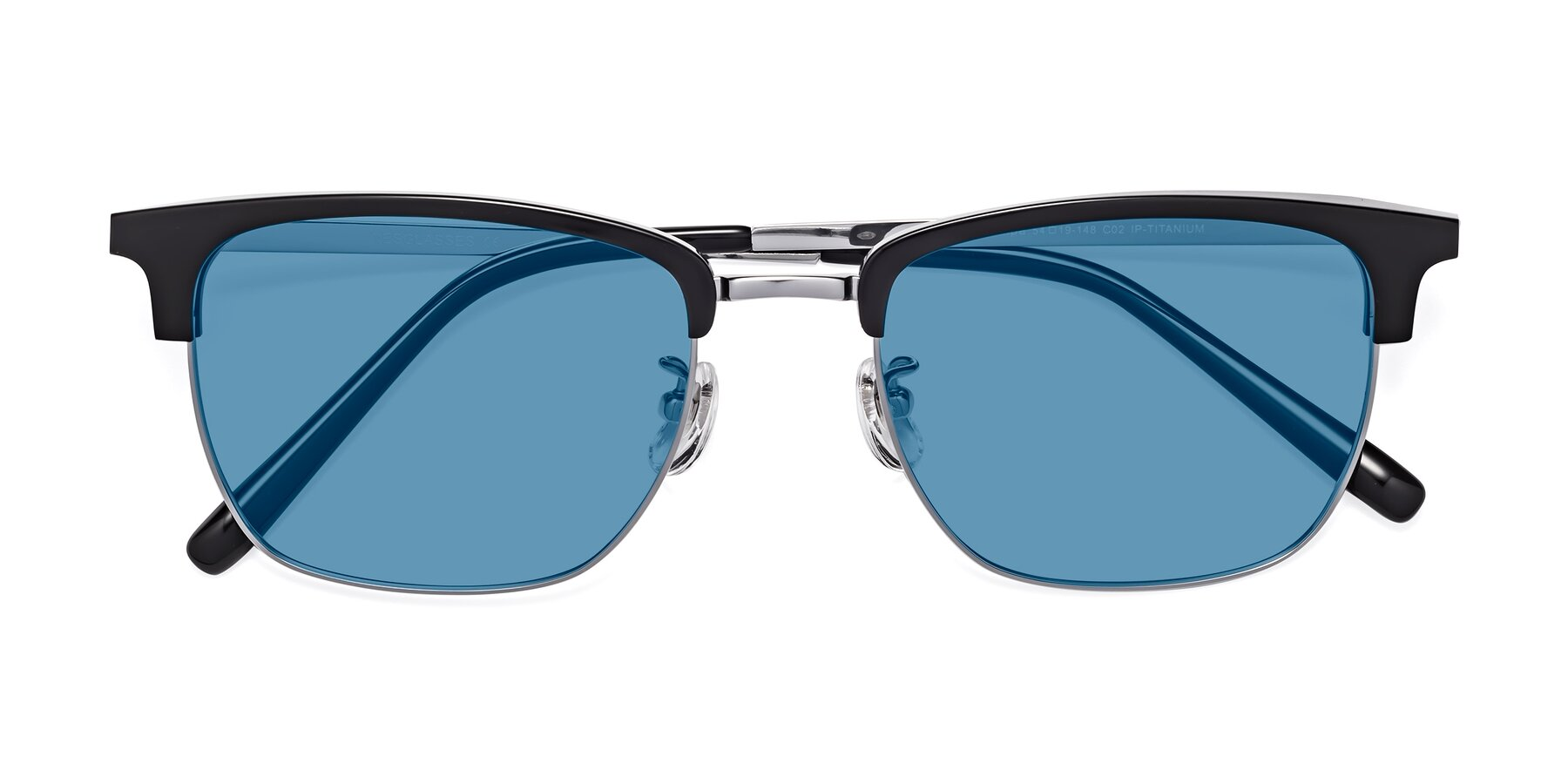 Folded Front of Milpa in Black-Silver with Medium Blue Tinted Lenses