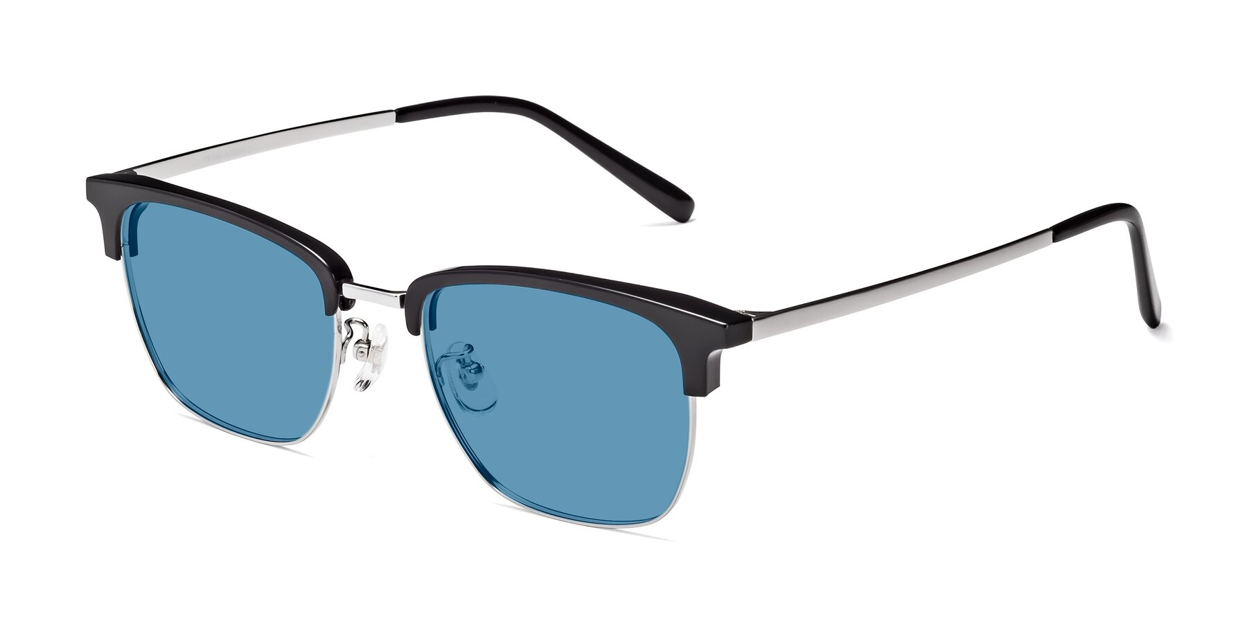 Angle of Milpa in Black-Silver with Medium Blue Tinted Lenses