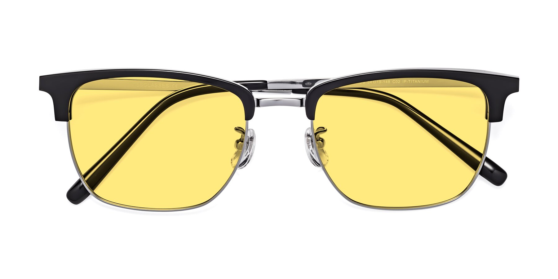 Folded Front of Milpa in Black-Silver with Medium Yellow Tinted Lenses