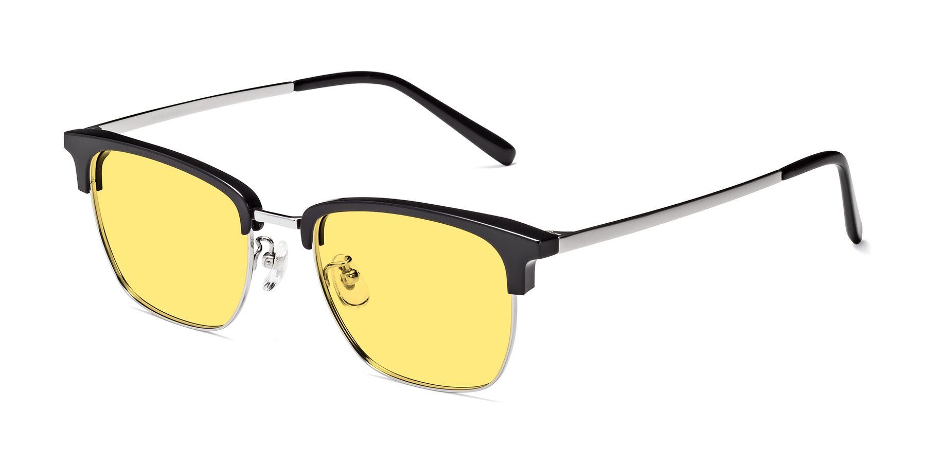 Angle of Milpa in Black-Silver with Medium Yellow Tinted Lenses