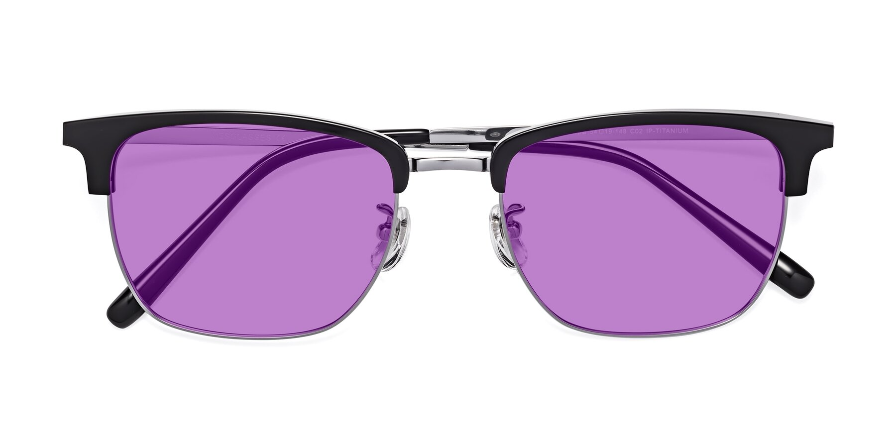 Folded Front of Milpa in Black-Silver with Medium Purple Tinted Lenses