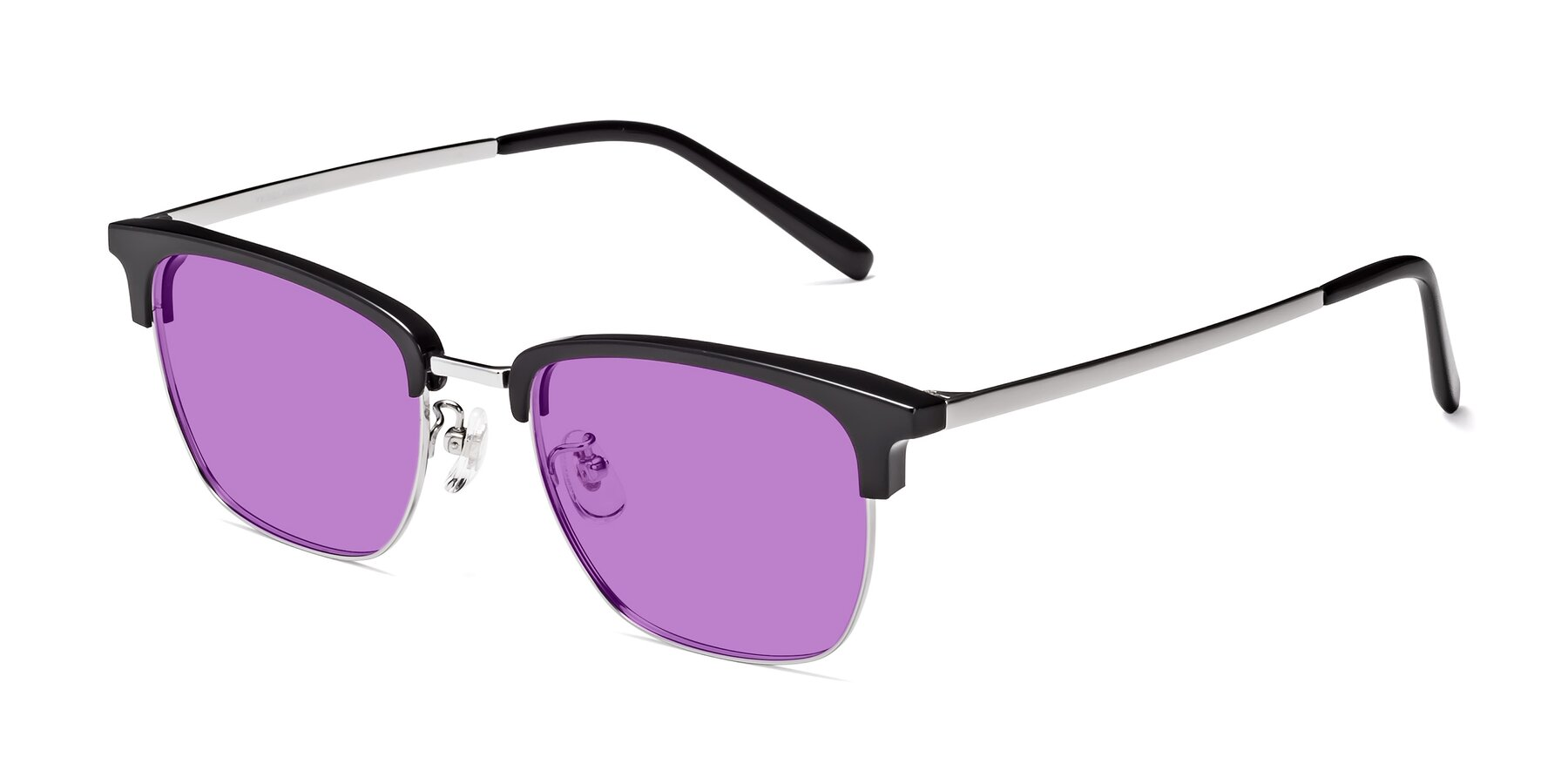 Angle of Milpa in Black-Silver with Medium Purple Tinted Lenses