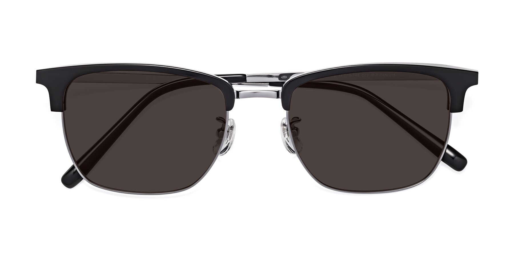 Folded Front of Milpa in Black-Silver with Gray Tinted Lenses