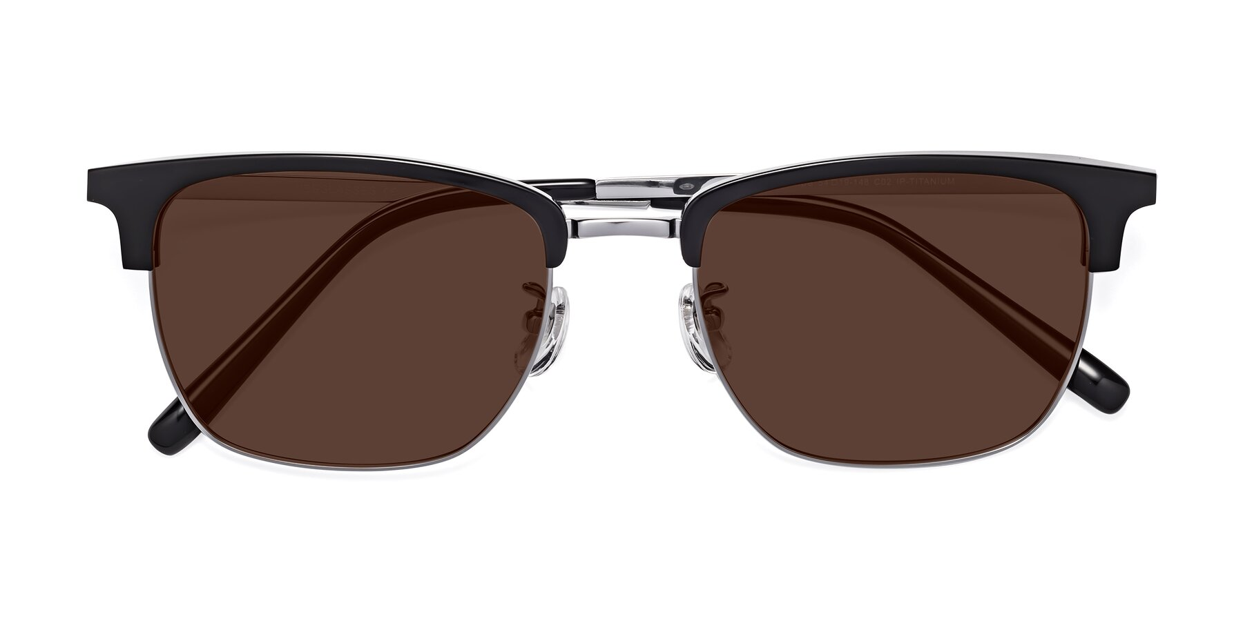 Folded Front of Milpa in Black-Silver with Brown Tinted Lenses
