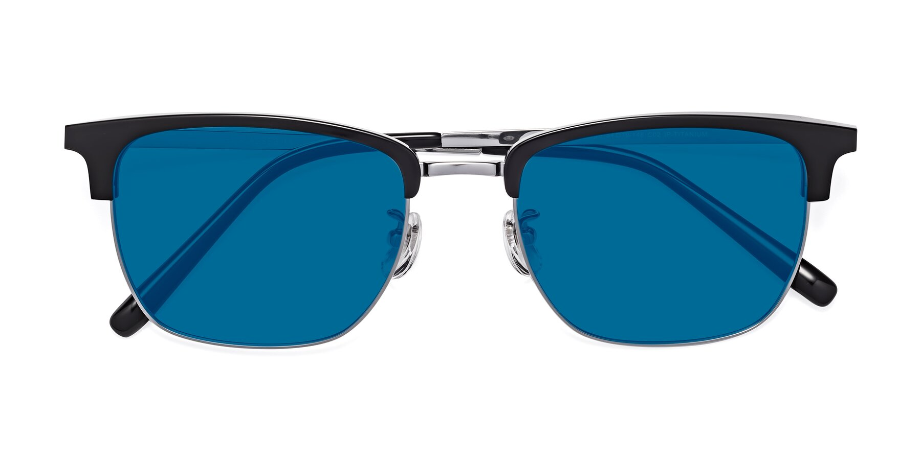 Folded Front of Milpa in Black-Silver with Blue Tinted Lenses