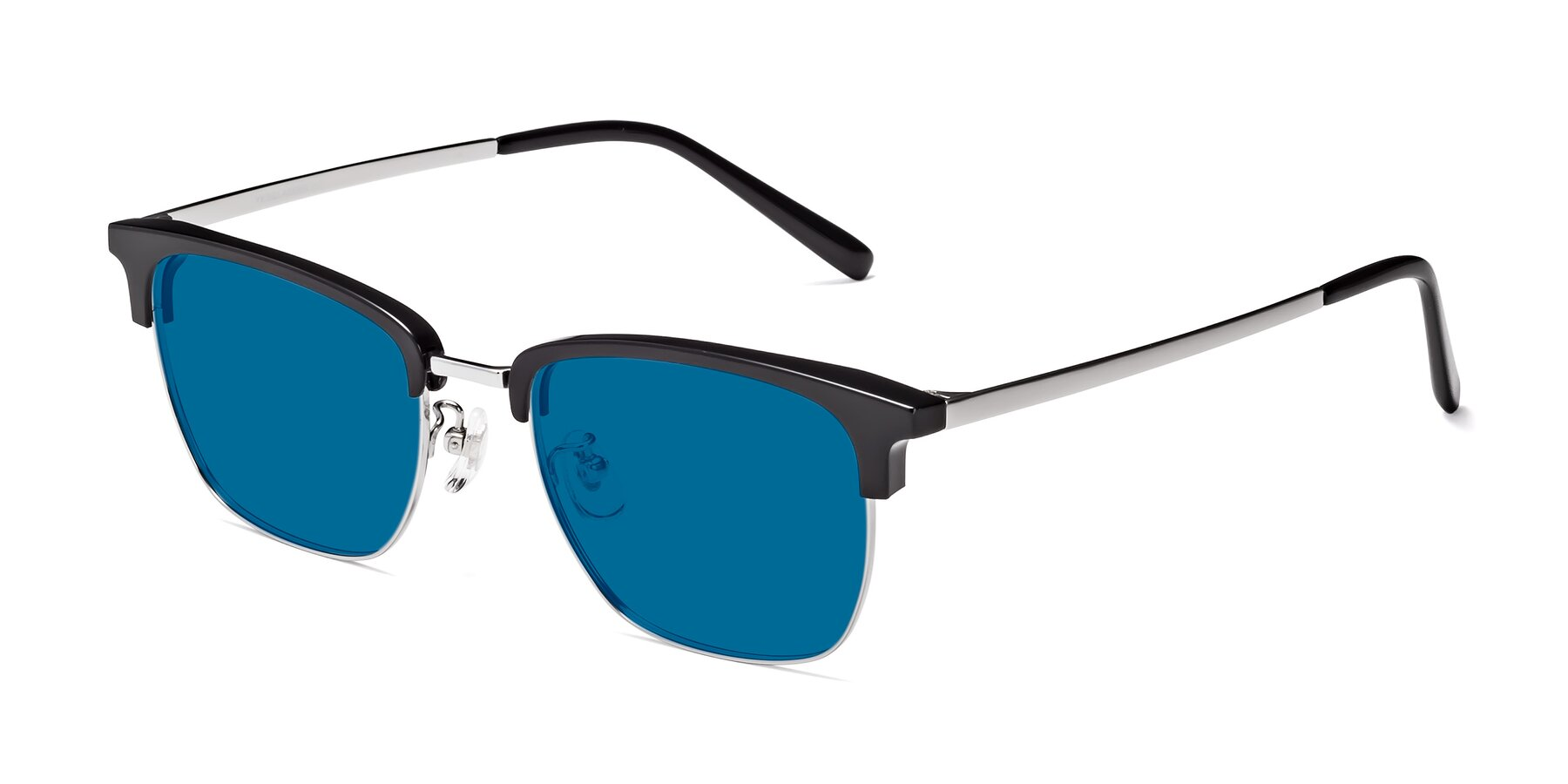 Angle of Milpa in Black-Silver with Blue Tinted Lenses