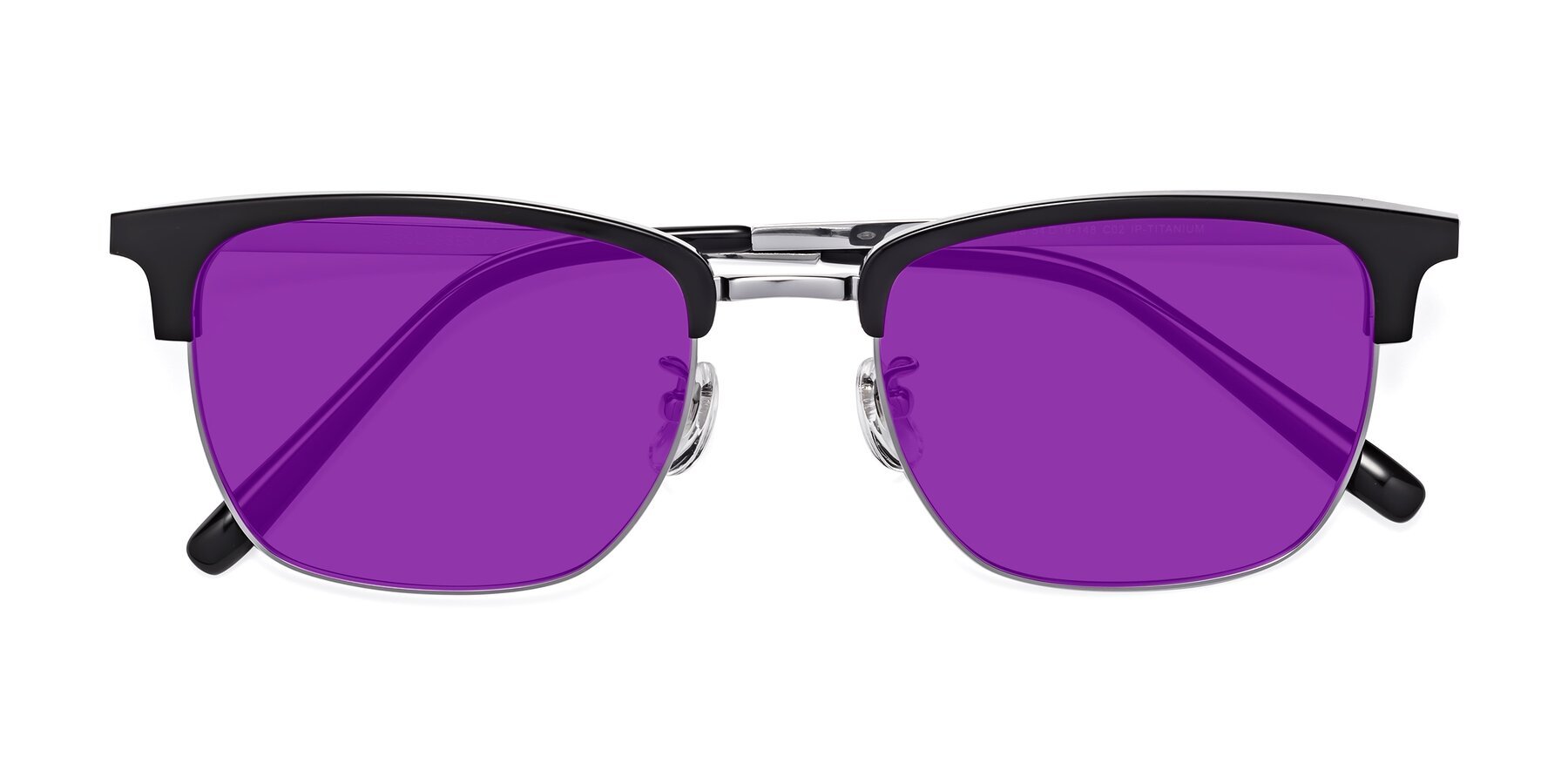 Folded Front of Milpa in Black-Silver with Purple Tinted Lenses