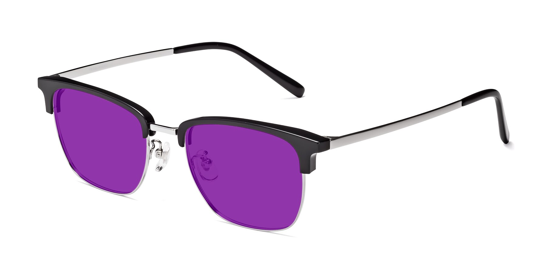 Angle of Milpa in Black-Silver with Purple Tinted Lenses