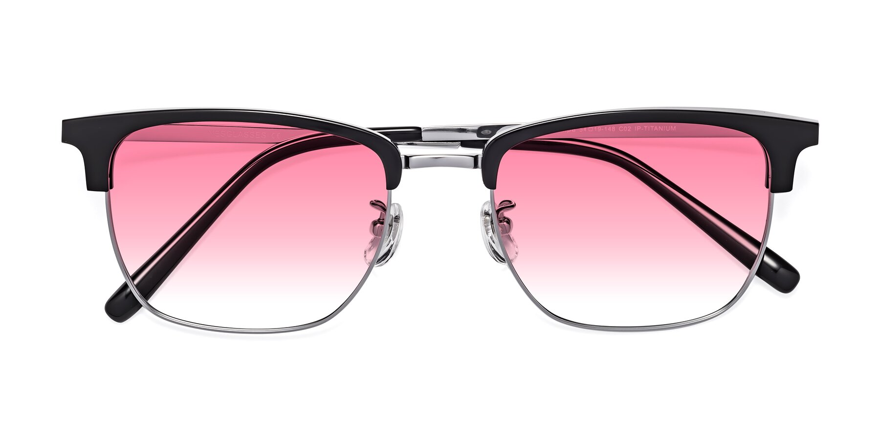Folded Front of Milpa in Black-Silver with Pink Gradient Lenses