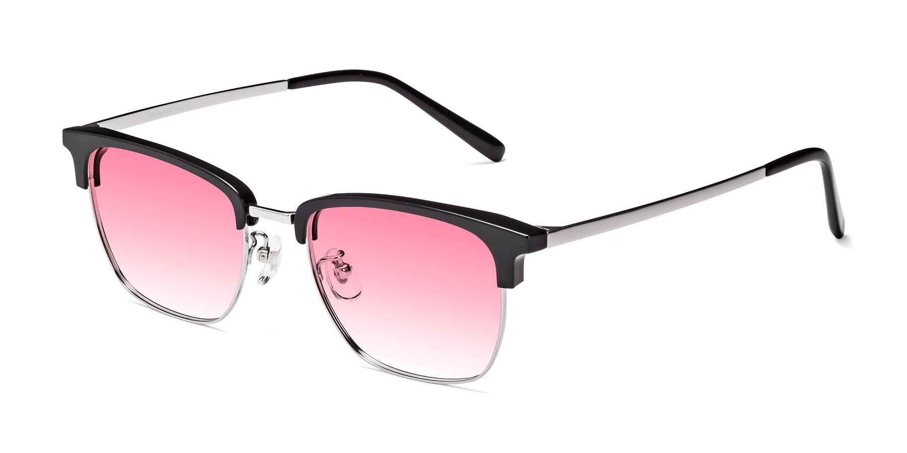 Angle of Milpa in Black-Silver with Pink Gradient Lenses