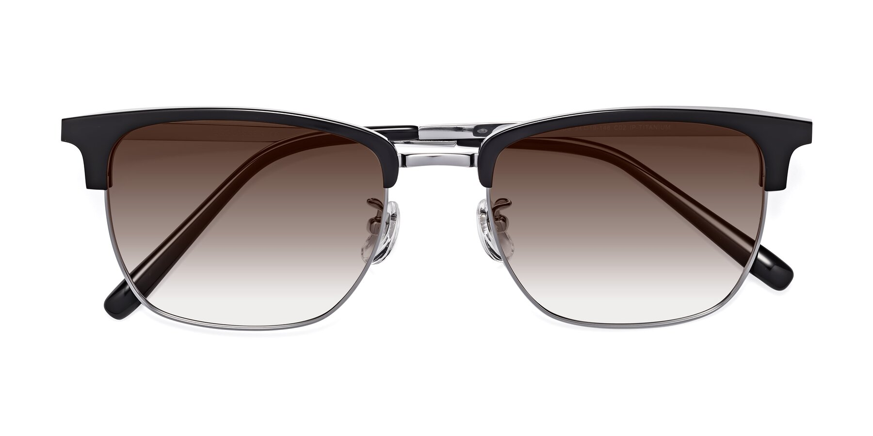 Folded Front of Milpa in Black-Silver with Brown Gradient Lenses